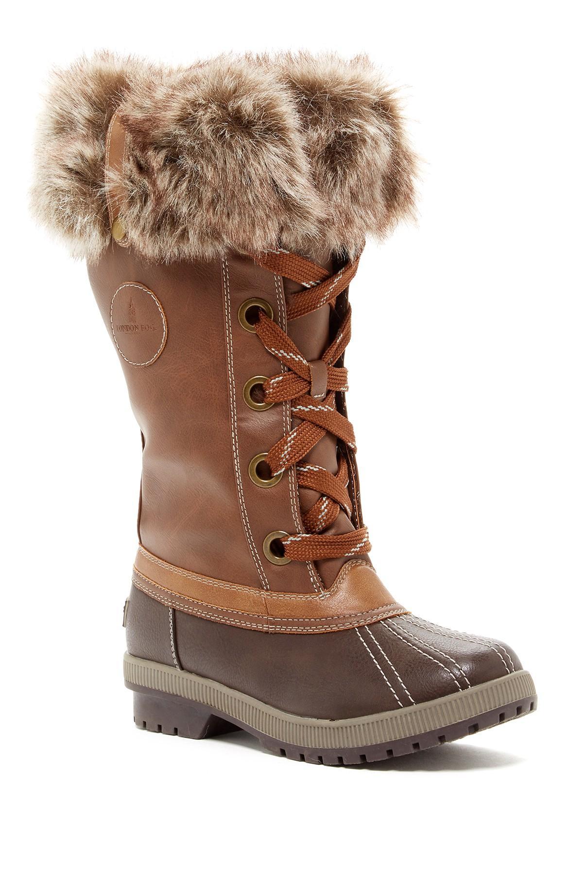 London Fog Melton Faux Fur Trim Boot In Brown Lyst