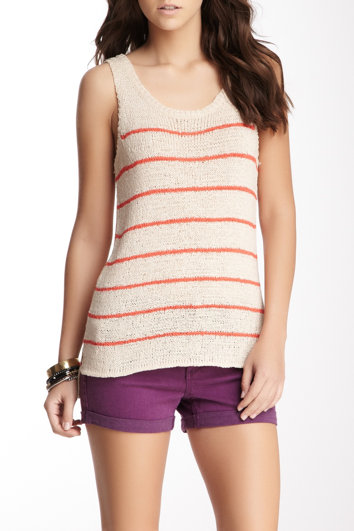 Lyst Olive Amp Oak Stripe Sweater Tank In Orange