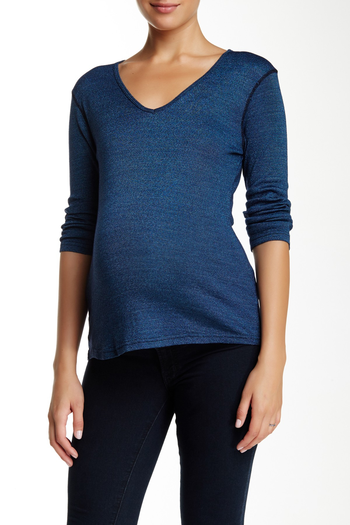 Michael stars deep v neck tee maternity in blue lyst for Michael stars tee shirts