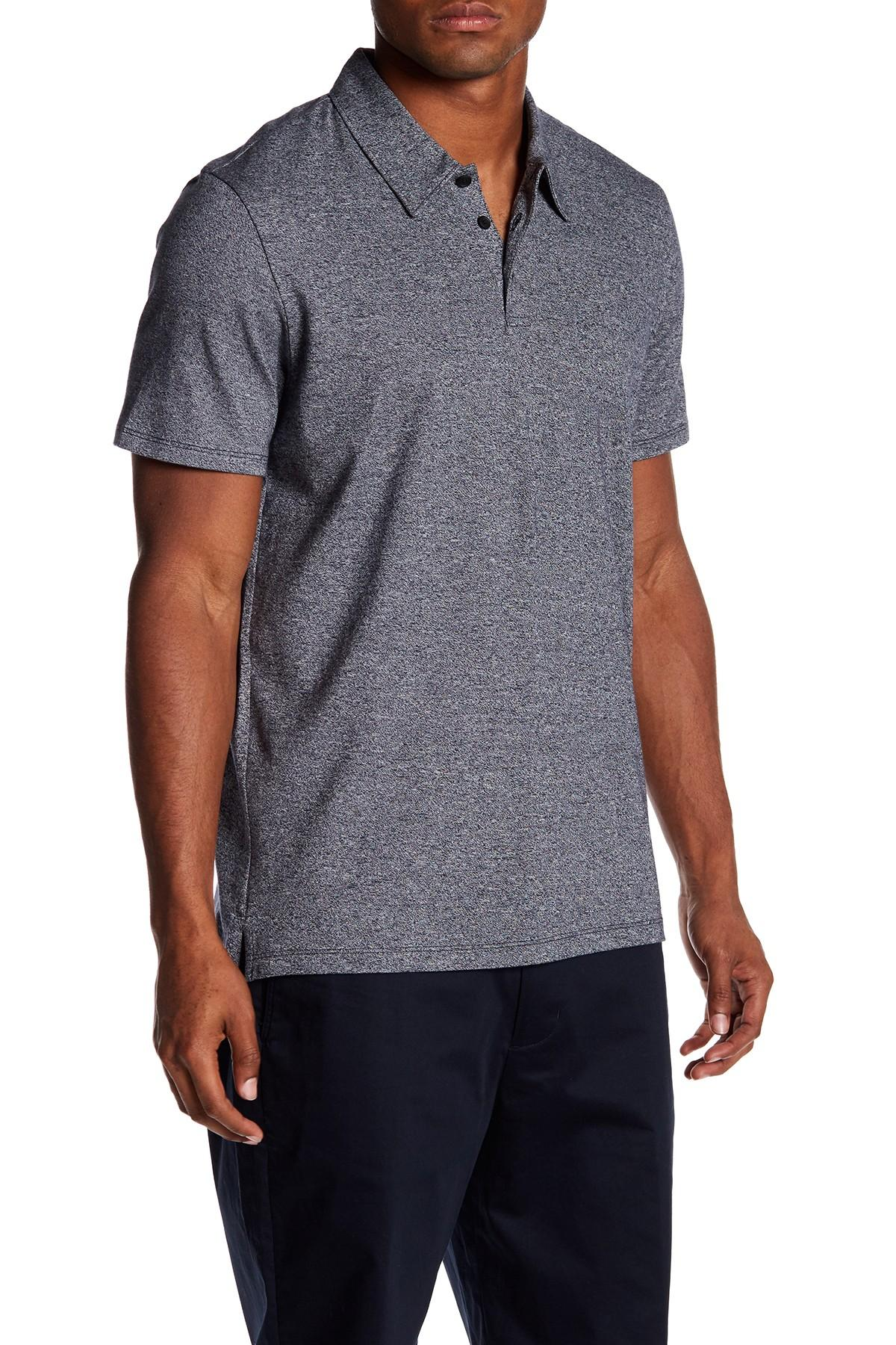 Lyst Vince Short Sleeve Polo In Gray For Men