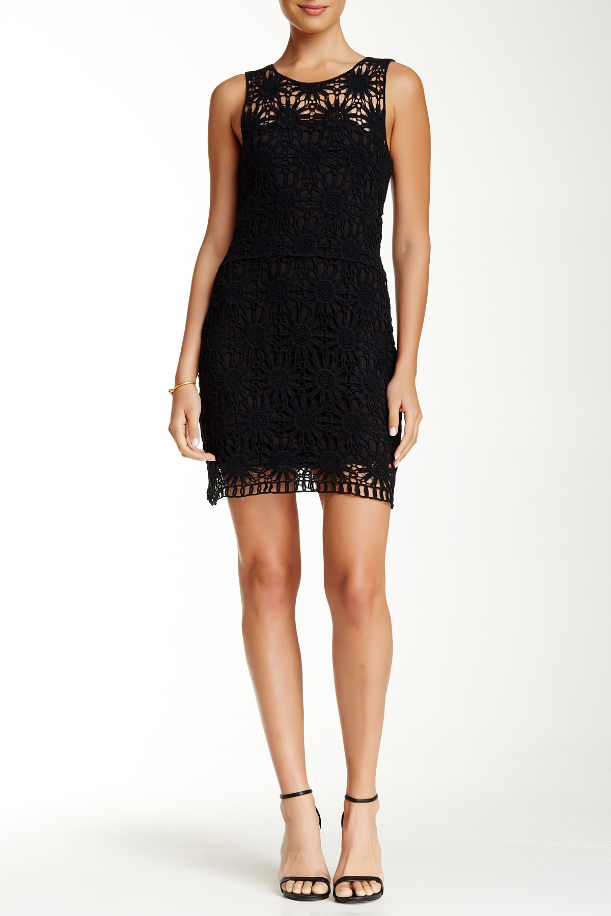 Lyst Macbeth Collection Crocheted Lace Dress In Black