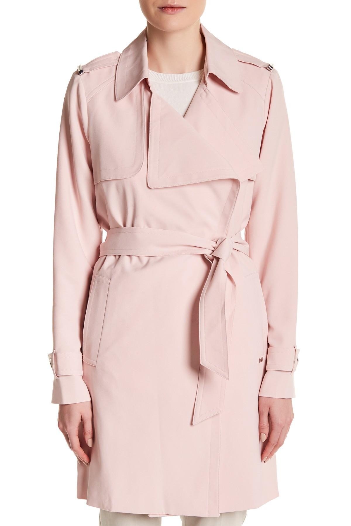 Lyst Michael Michael Kors Belted Trench Coat In Pink