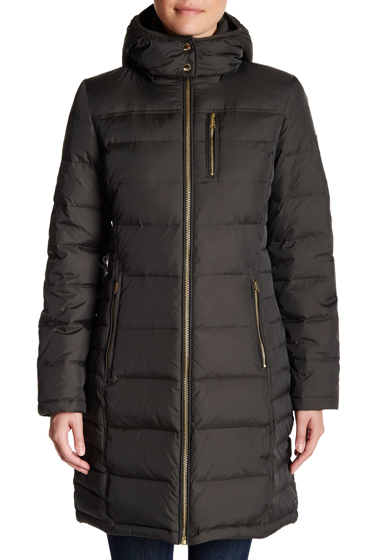 Michael Kors Hooded Down Amp Feather Quilted Coat In Black