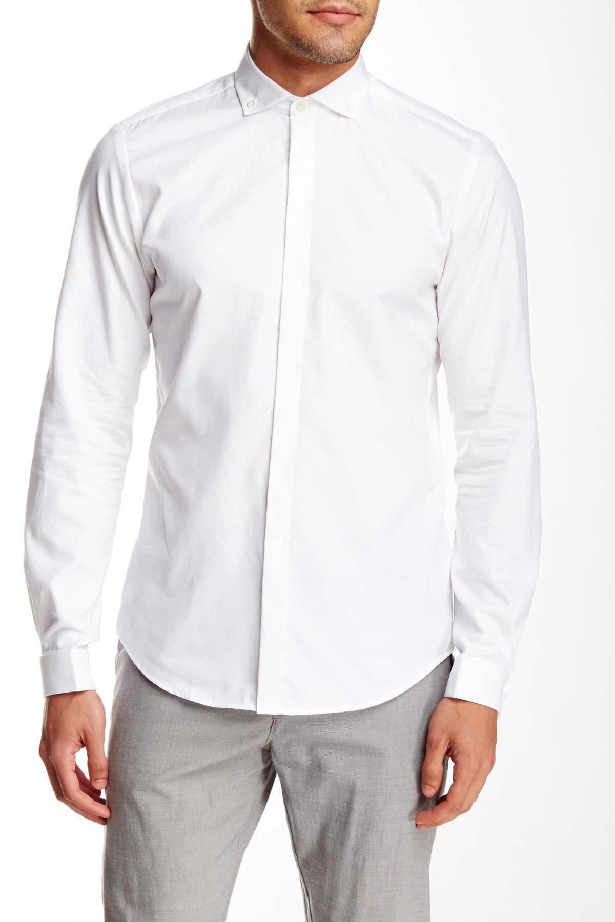 Ben sherman slim fit cutaway collar french cuff shirt in for White french cuff shirt slim fit