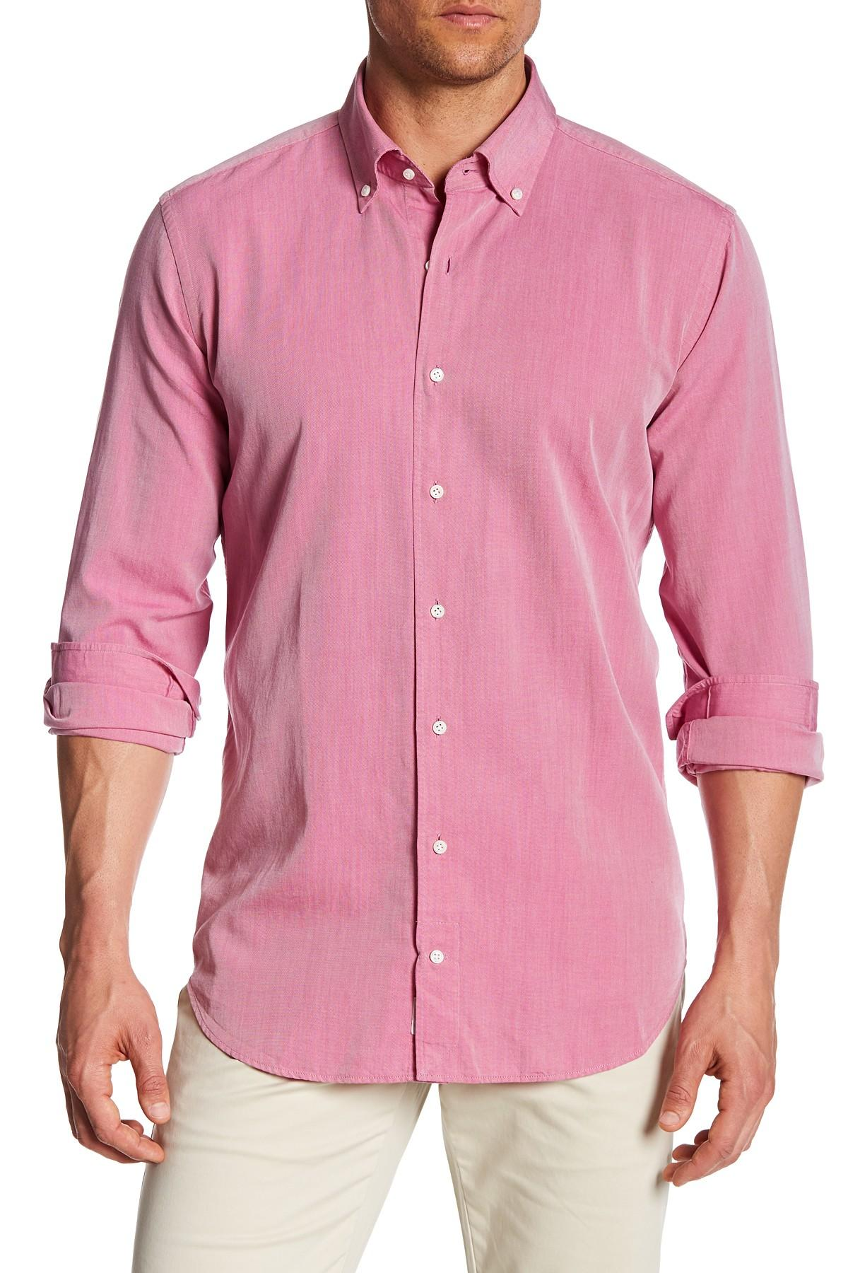Lyst peter millar perfect pinpoint dress shirt in pink for Mens pinpoint dress shirts