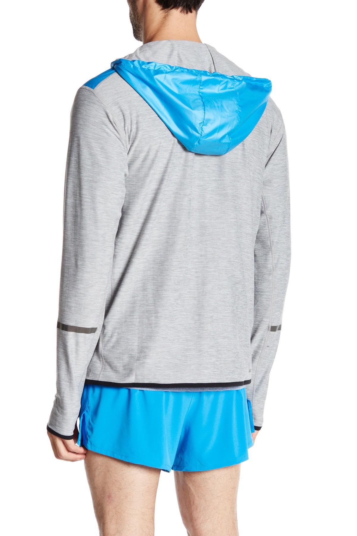 lyst new balance nb transit hoodie in blue for men. Black Bedroom Furniture Sets. Home Design Ideas