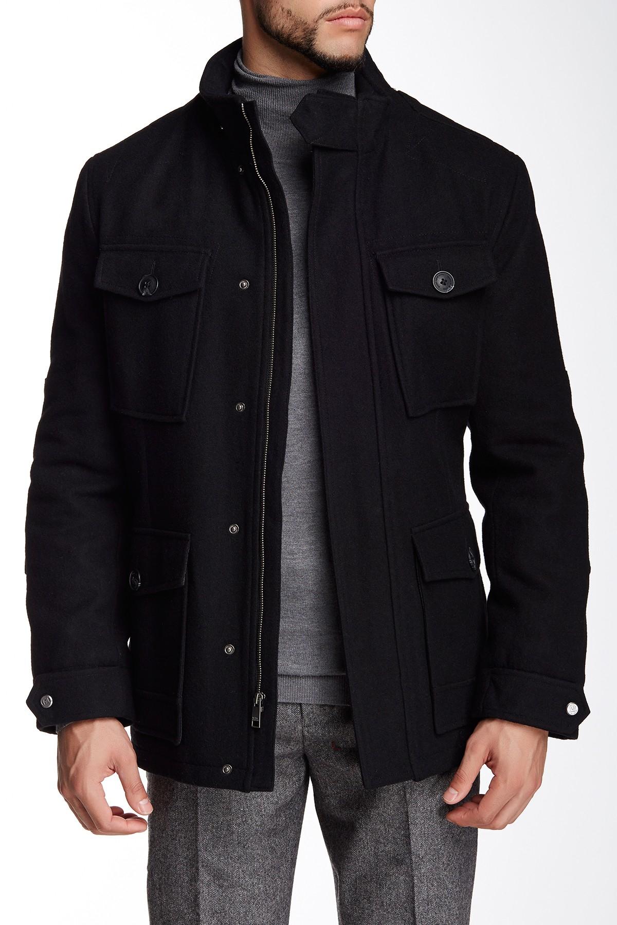 Andrew Marc Trevor Wool Military Coat In Black For Men Lyst