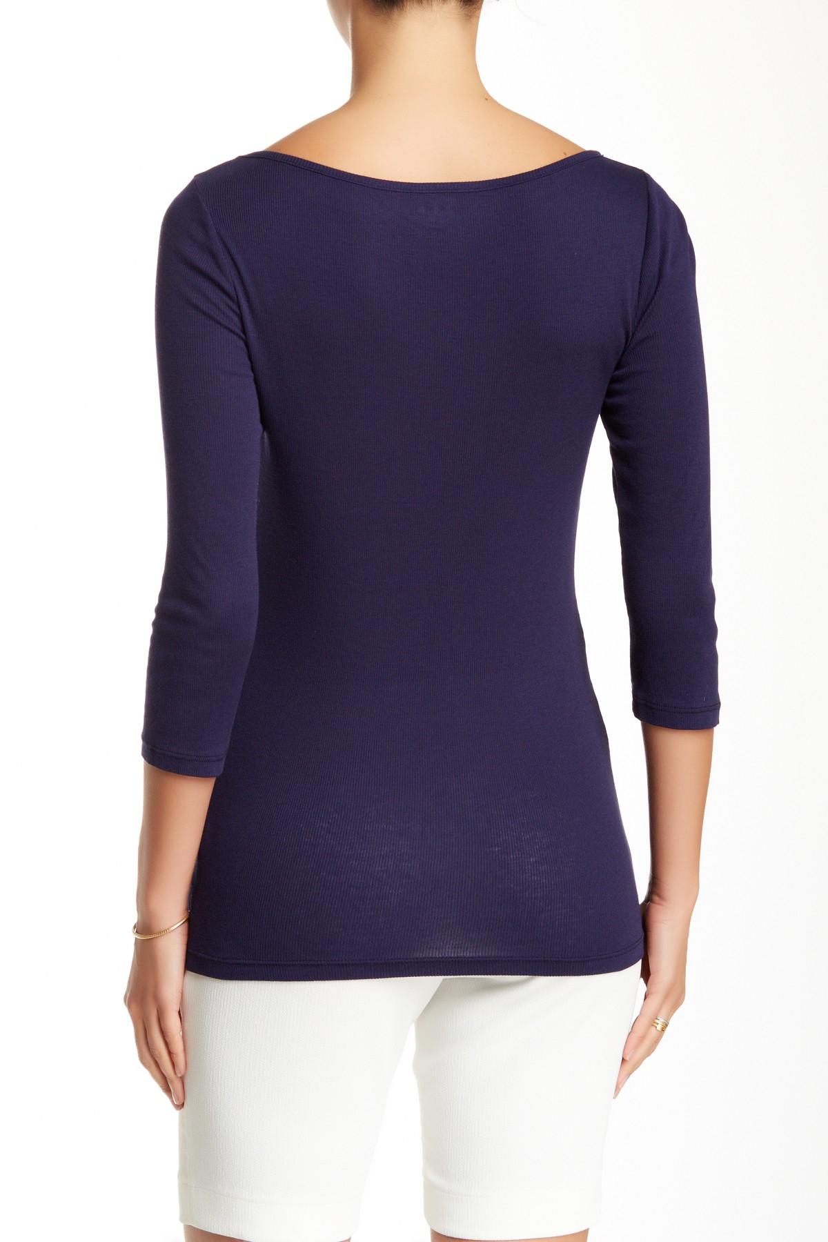 Three dots boatneck rib knit tee in blue lyst for Three dots t shirts