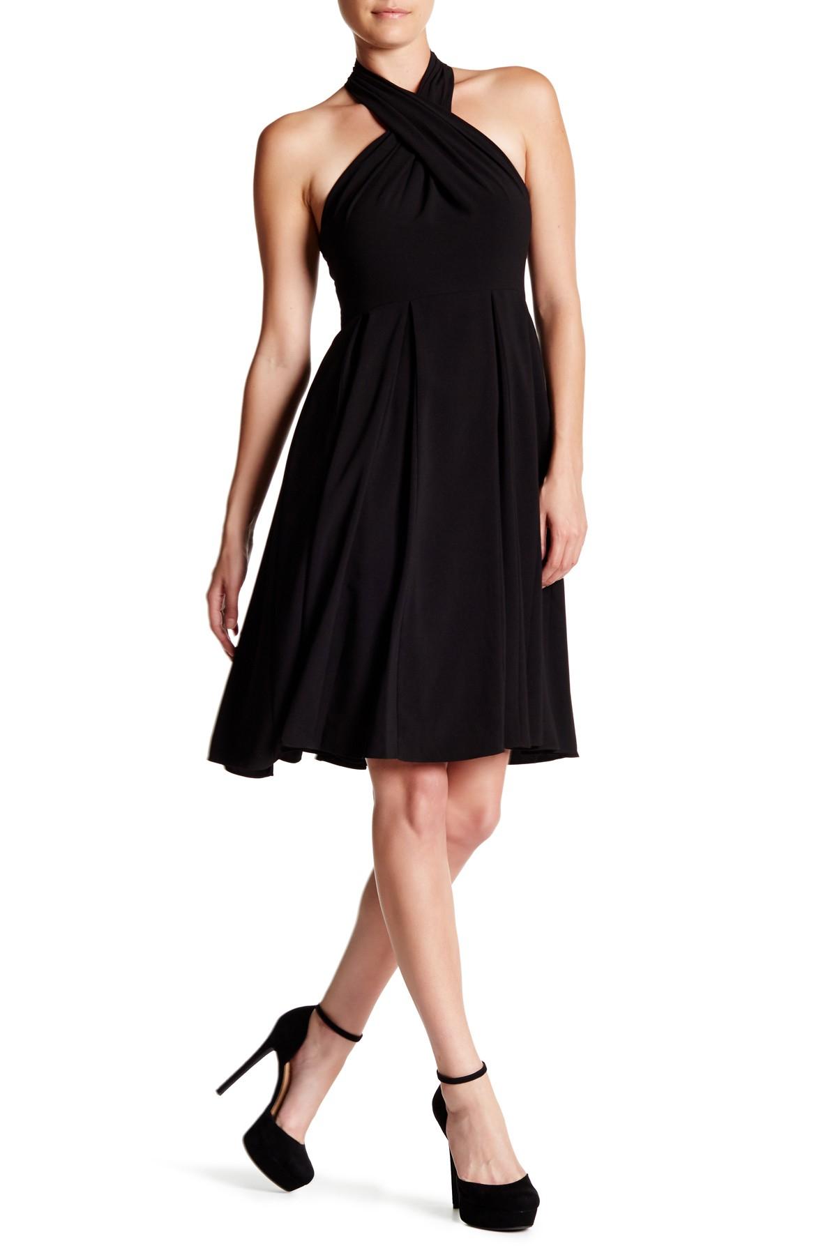 Halston Heritage Pleated Halter Fit Amp Flare Dress In Black