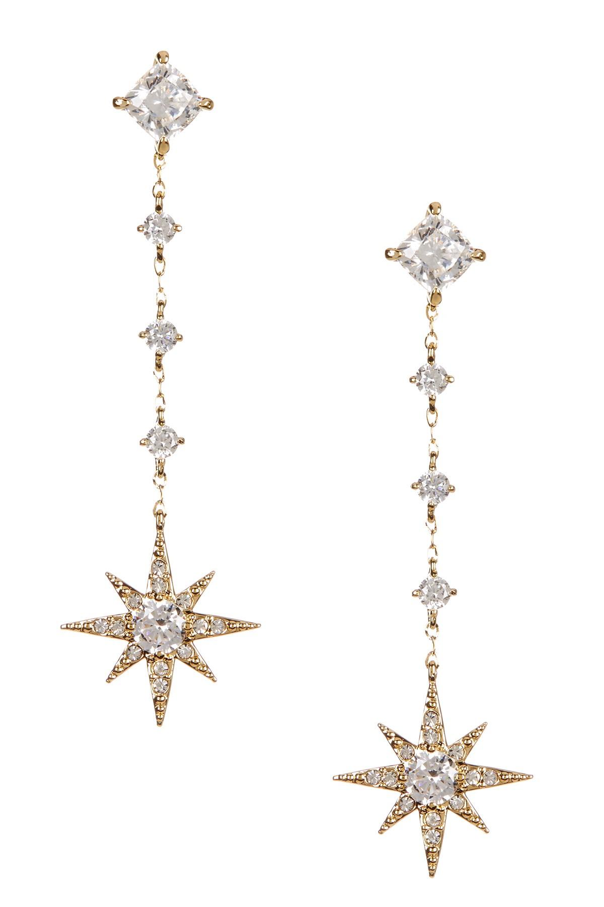 Lyst Nadri 18k Gold Plated Star Drop Cz Earrings In Metallic