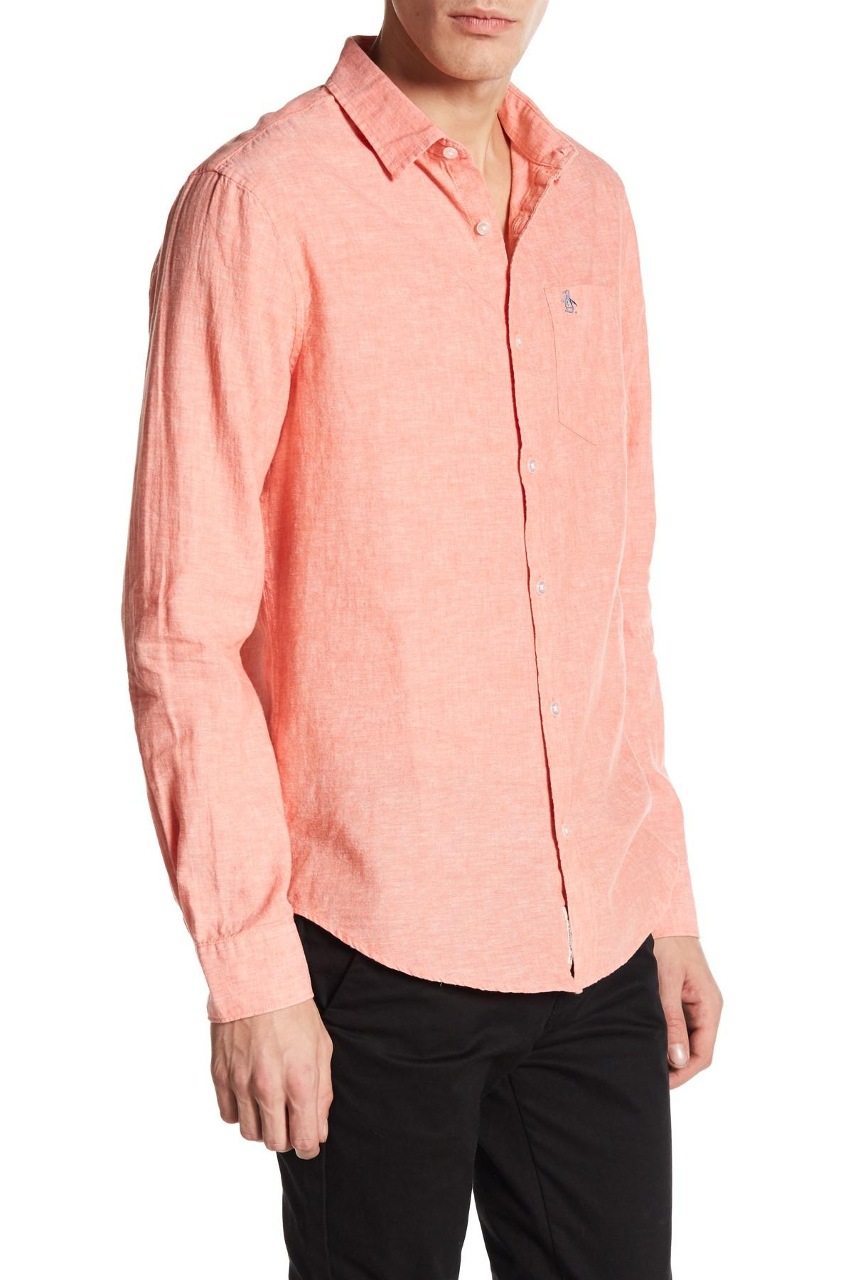 Lyst original penguin chambray slim fit shirt in pink for Chambray 7 s