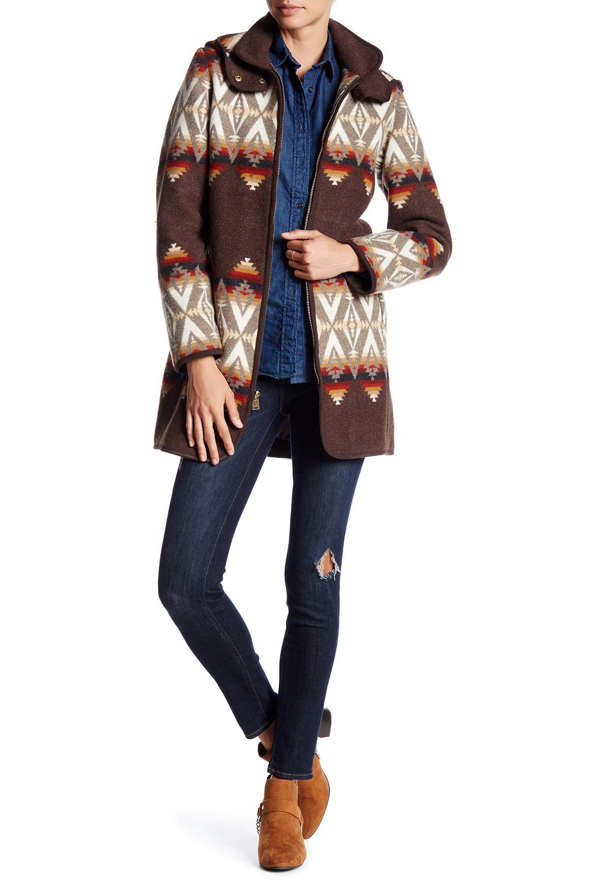 Pendleton Santa Fe Wool Blend Coat In Brown Lyst [ 1800 x 1200 Pixel ]