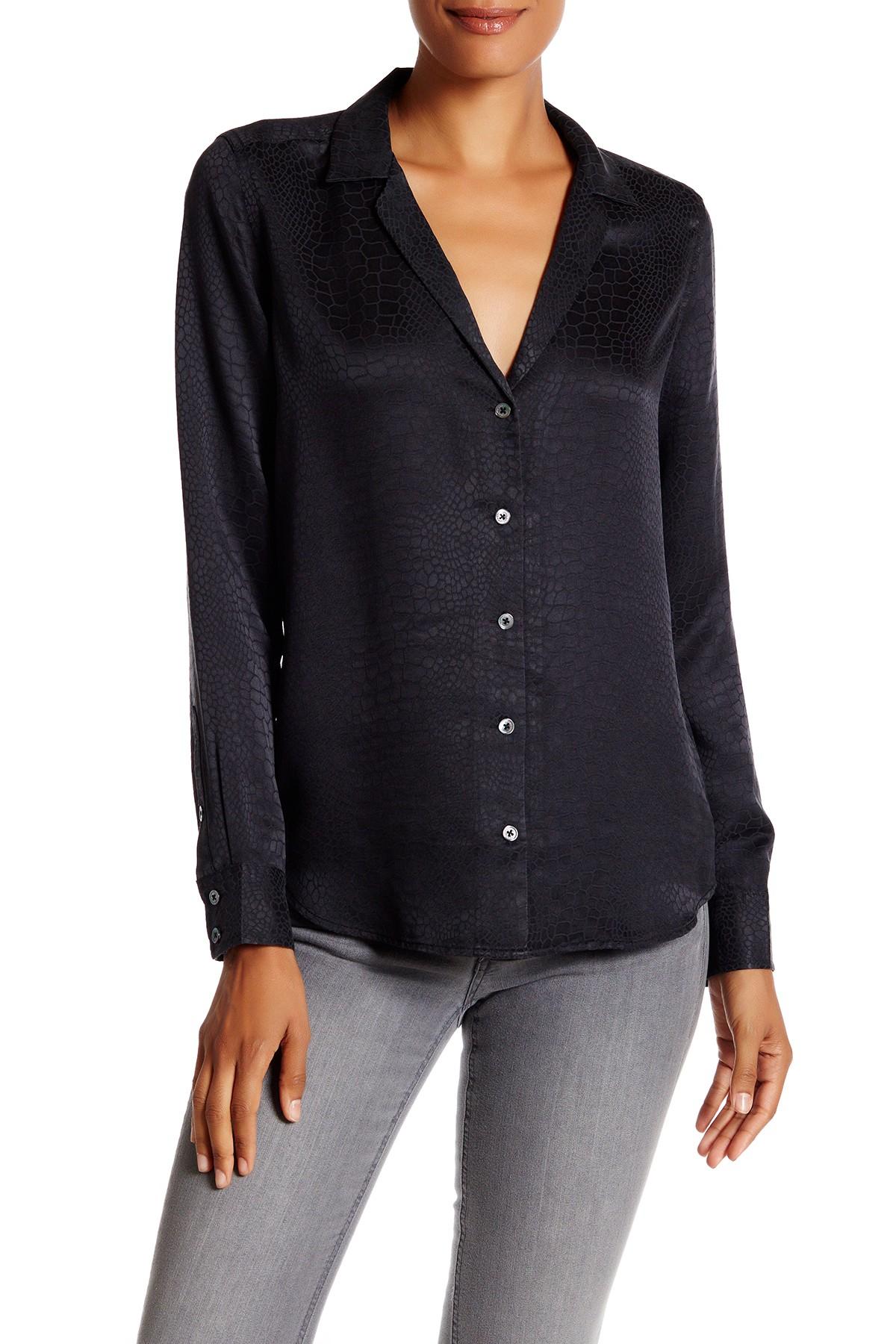Equipment adalyn silk blouse in black true black save for Equipment black silk shirt