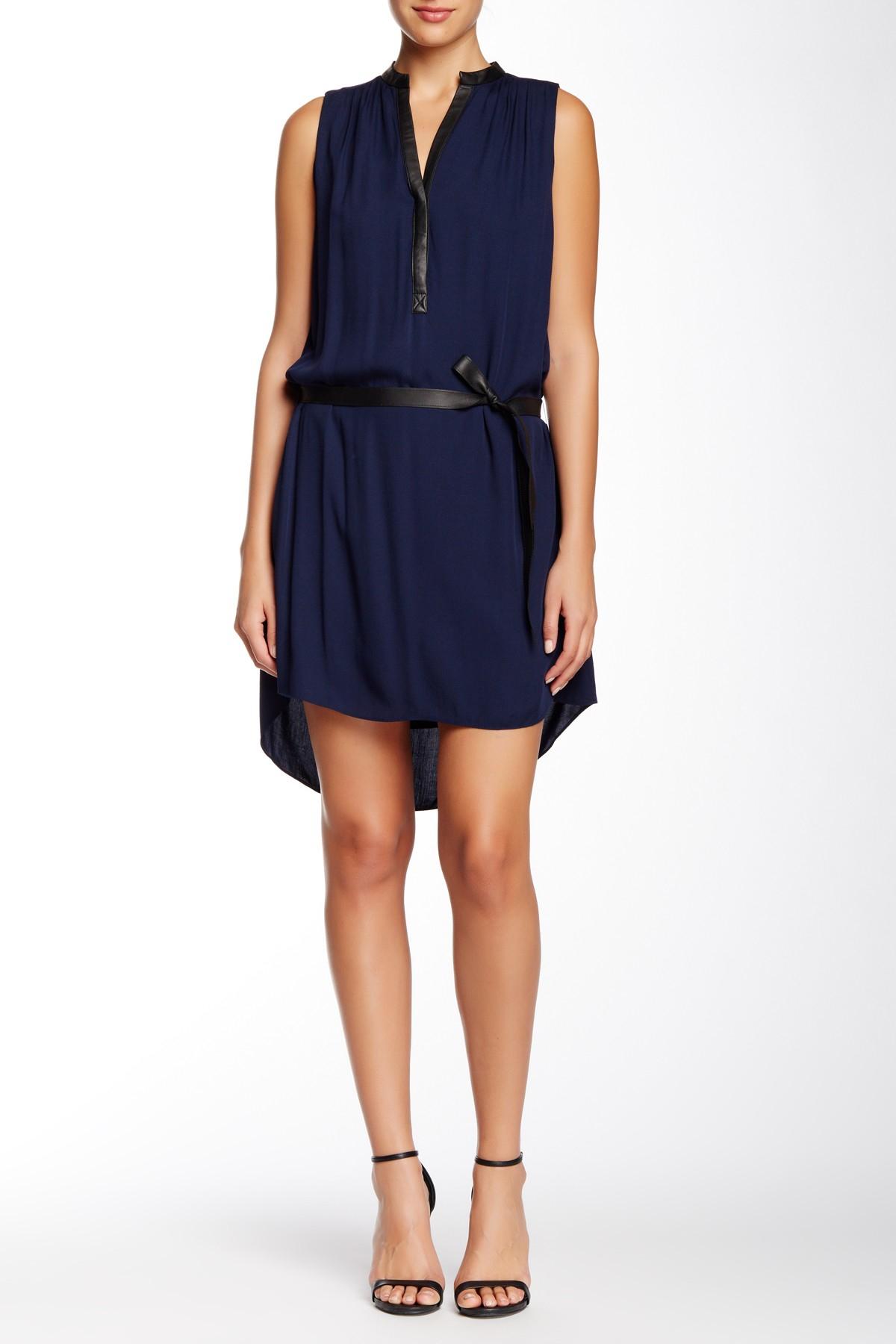 Alice Olivia Berk Leather Combo Hi Lo Dress In Blue Lyst