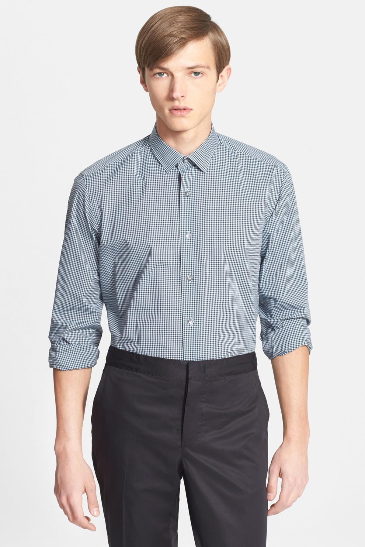 Lyst lanvin extra trim fit gingham dress shirt in blue for Gingham dress shirt men
