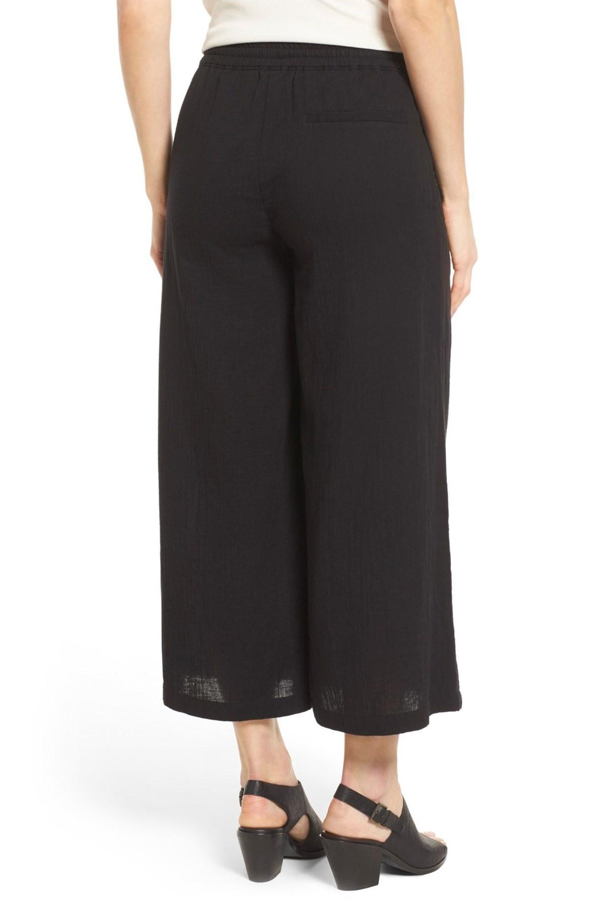 Eileen Fisher Organic Cotton Drawstring Waist Wide Leg