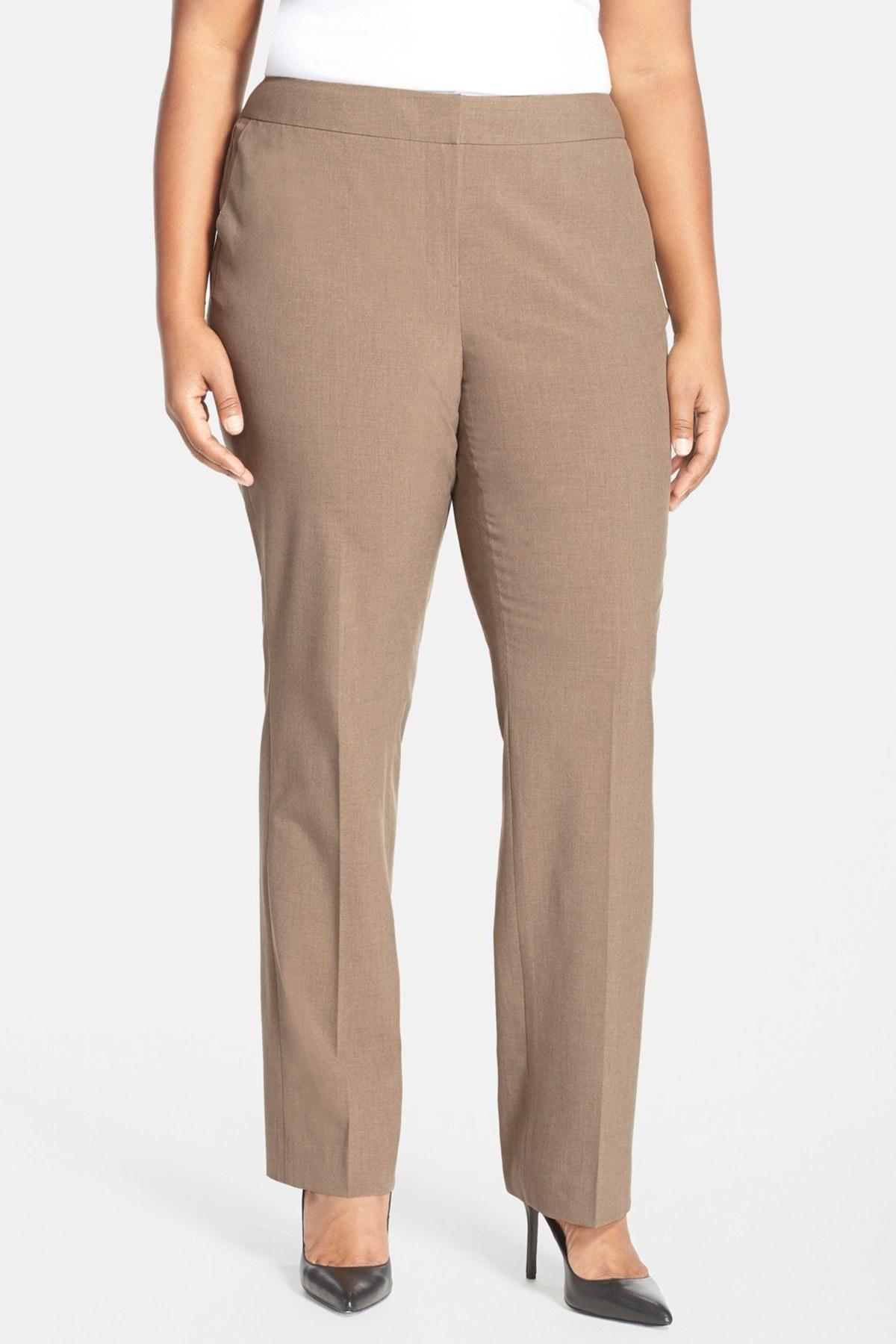 sejour 39 ela 39 modern fit trousers plus size in brown tan. Black Bedroom Furniture Sets. Home Design Ideas