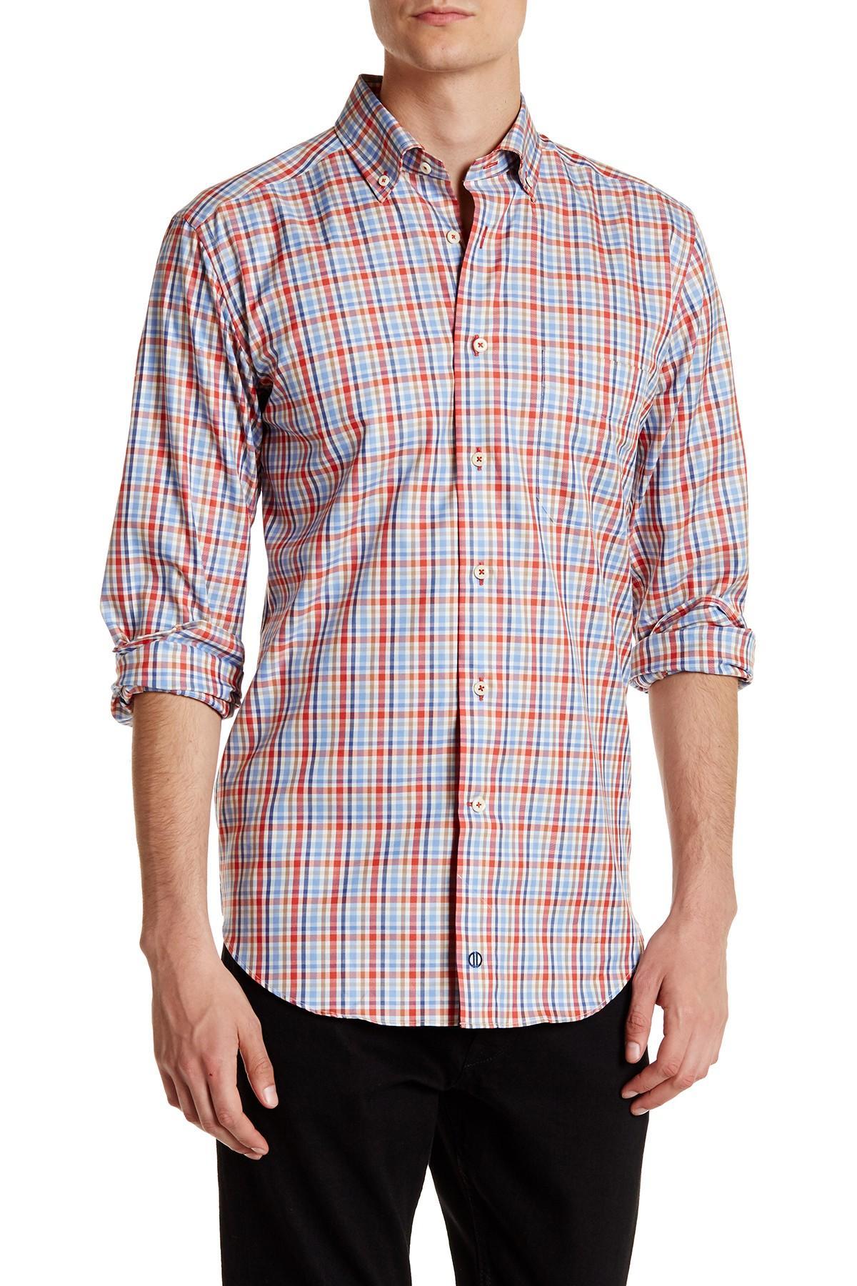 David Donahue Plaid Regular Fit Shirt In Blue For Men Lyst
