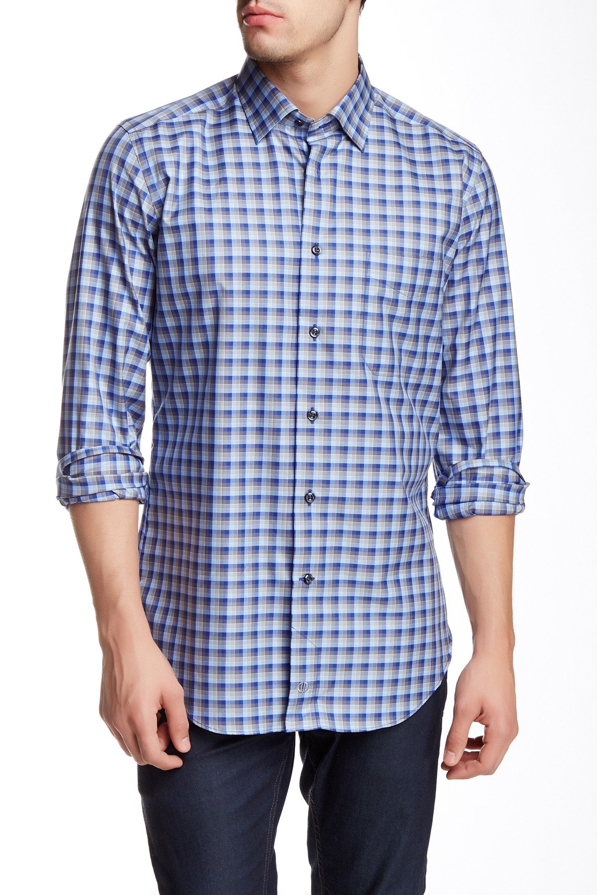 David Donahue Long Sleeve Regular Fit Plaid Sport Shirt In