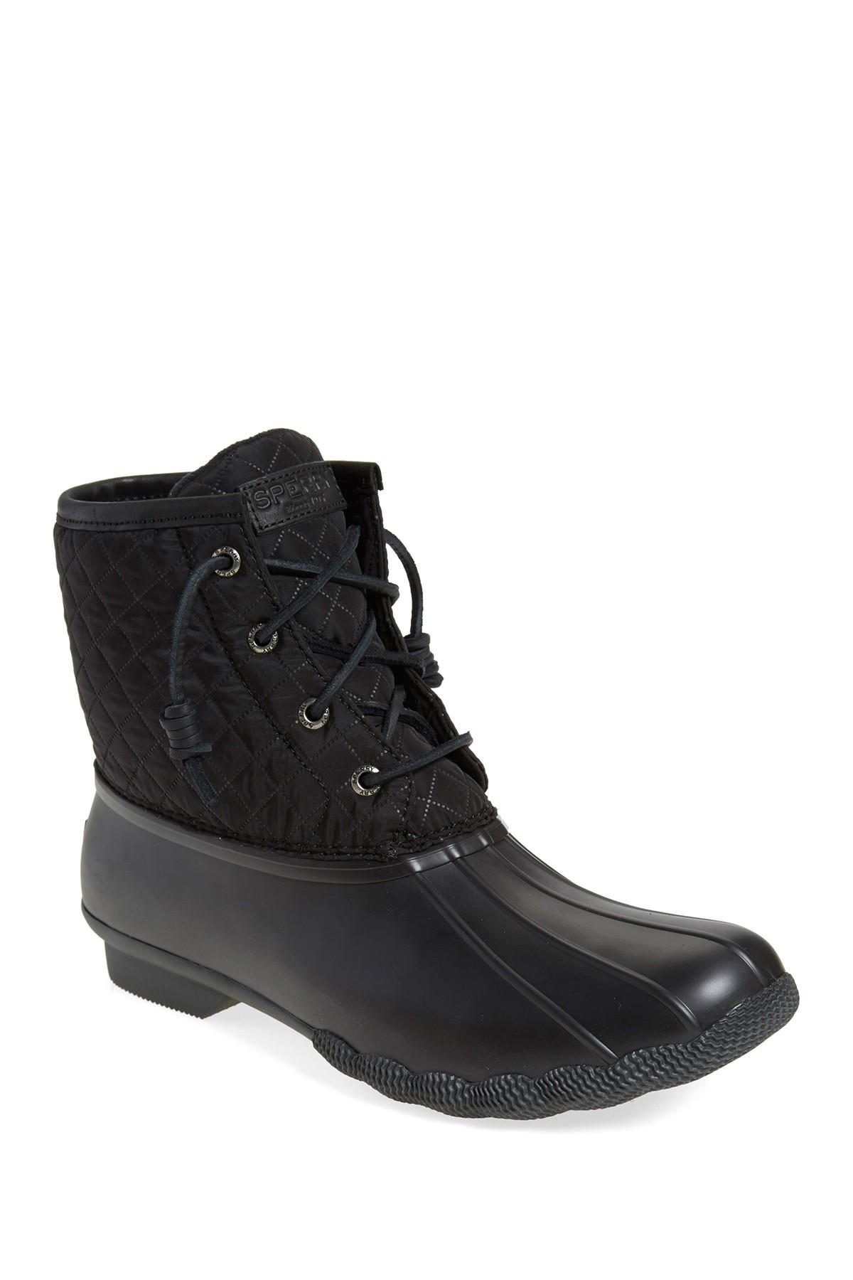 Sperry Top Sider Saltwater Quilted Duck Boot In Black Lyst