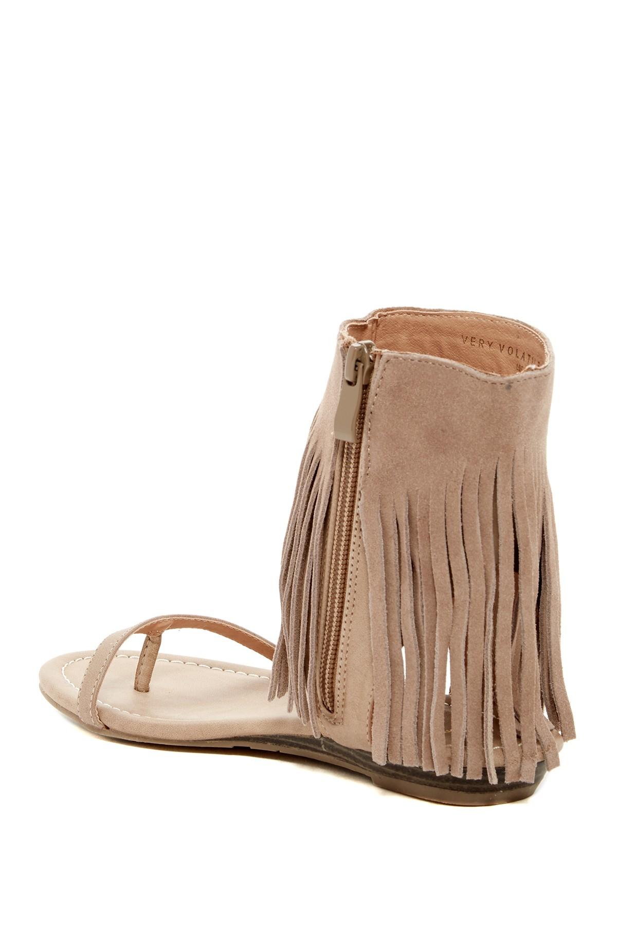 Lyst Very Volatile Sweet Fringe Sandal In Brown