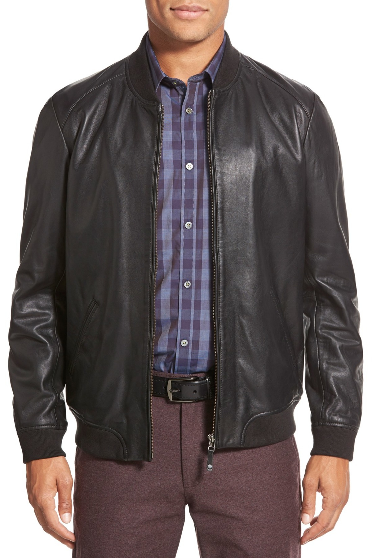 51c8a9dbc Lyst - Ted Baker  ovid  Lambskin Leather Bomber in Black for Men