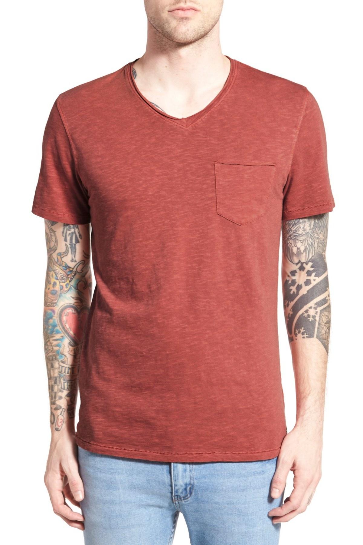 Treasure bond trim fit slub v neck pocket t shirt for for Men s v neck pocket tee shirts
