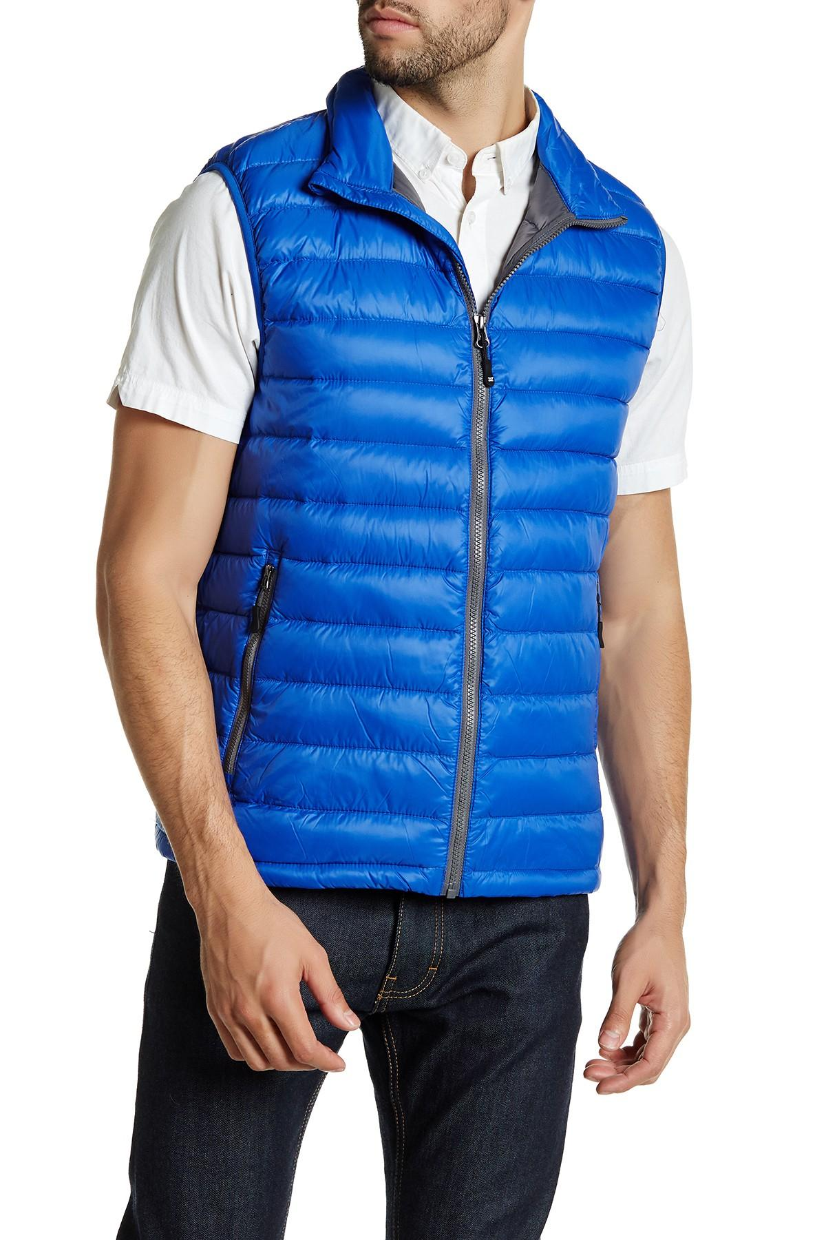 Lyst 32 Degrees Sleeveless Quilted Vest In Blue For Men