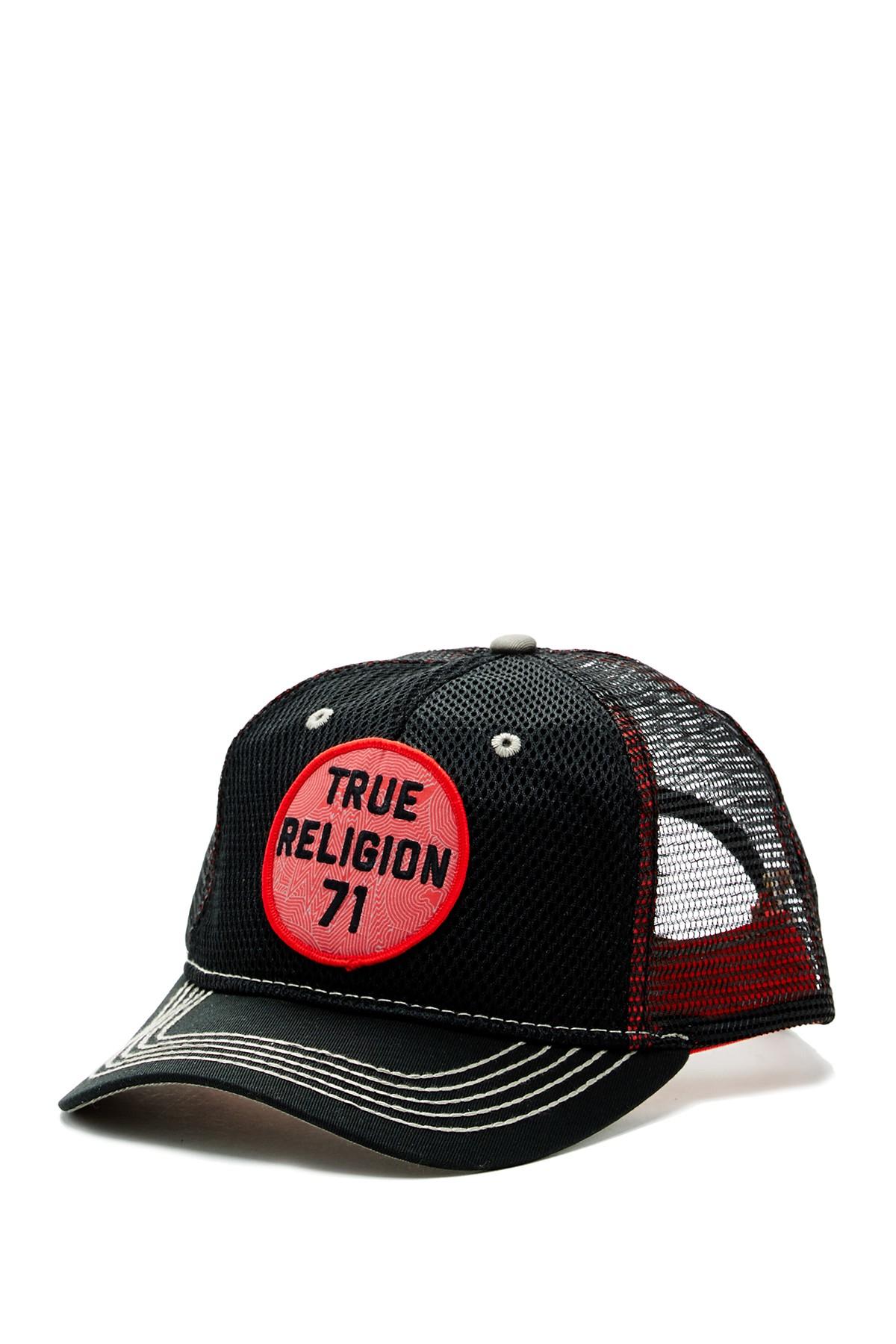 true religion mesh front baseball cap in black for men save 47 lyst. Black Bedroom Furniture Sets. Home Design Ideas