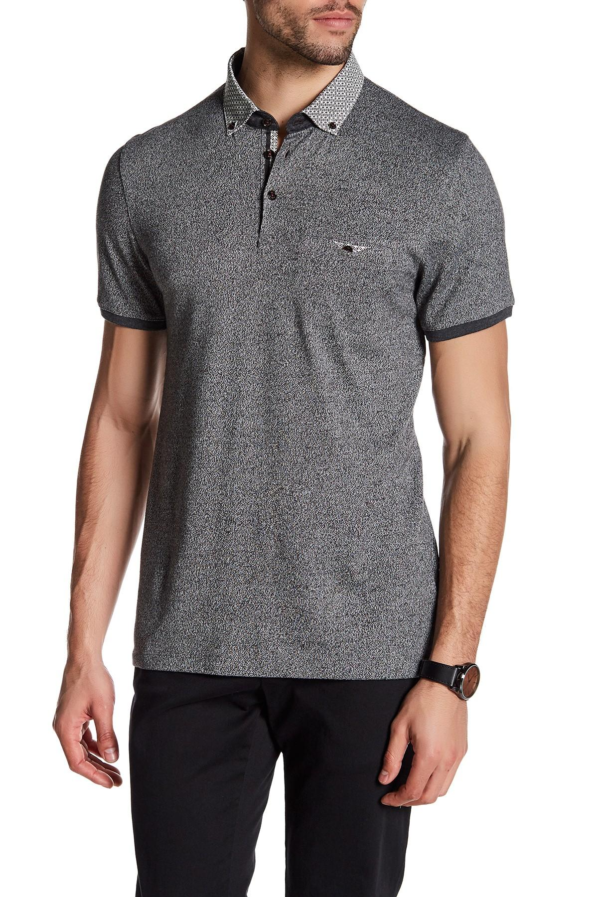 Ted baker printed collar polo shirt in gray for men lyst for Ted baker mens polo shirts