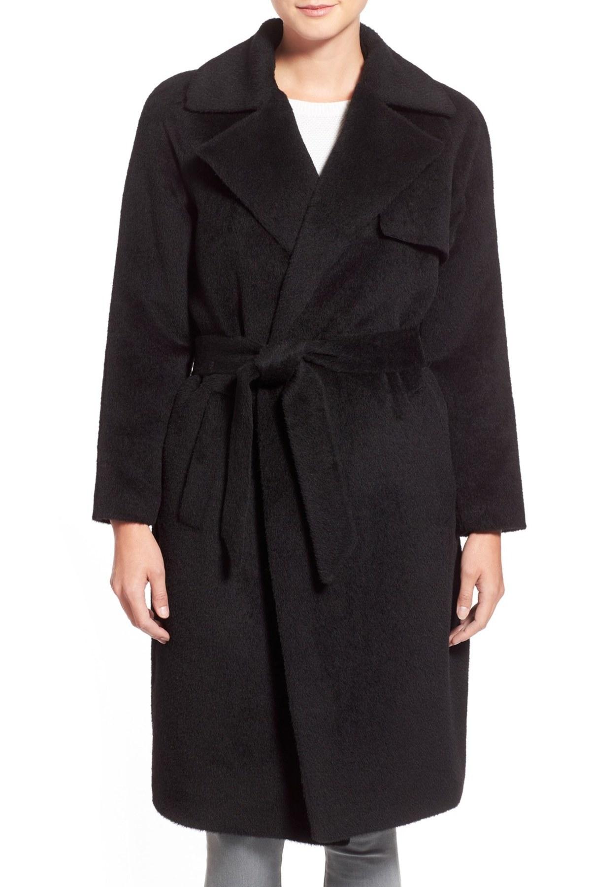 Trina Turk Delaney Long Wrap Trench Coat In Black Lyst