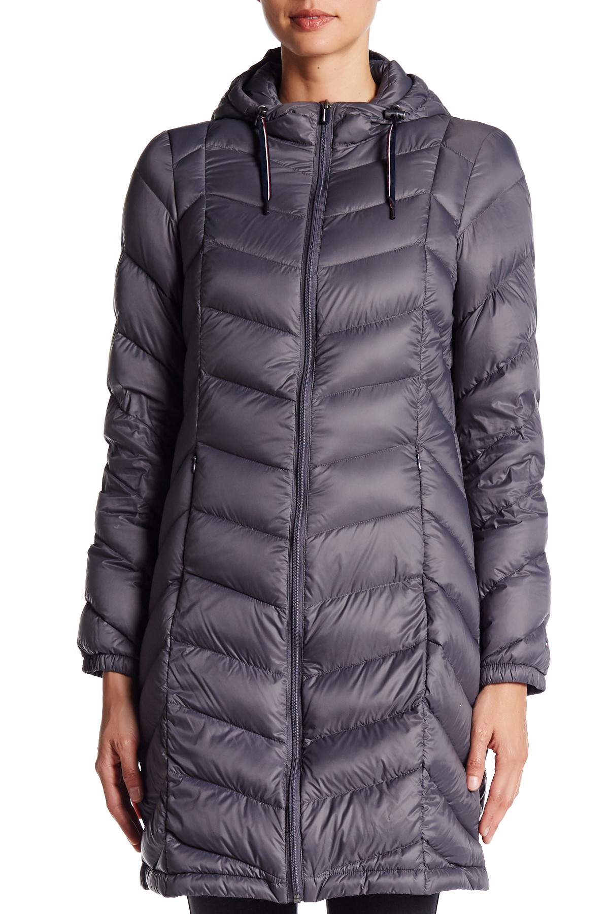 e8496cd3b Tommy Hilfiger Gray Packable Natural Down Quilted Long Jacket