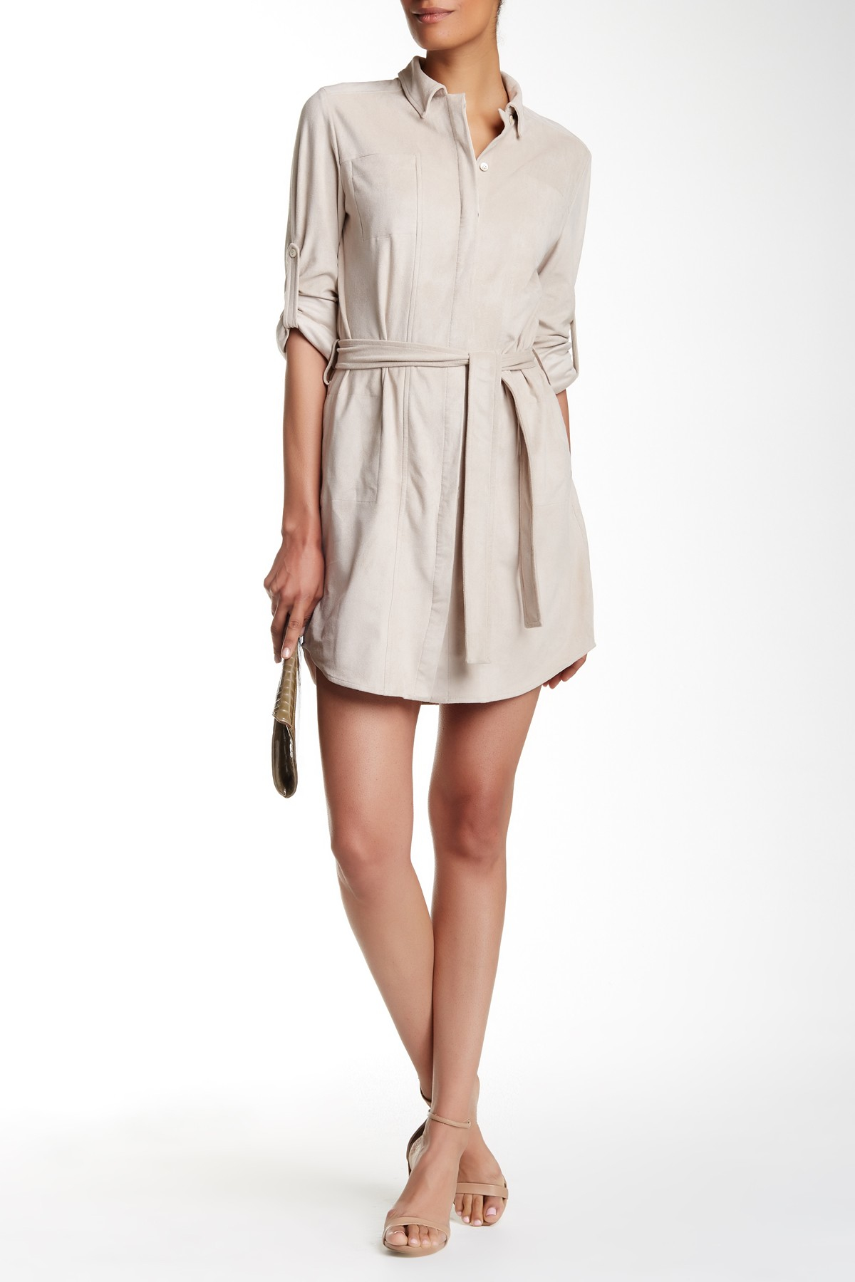 Halston heritage tied shirt dress in multicolor seastone for Halston heritage shirt dress
