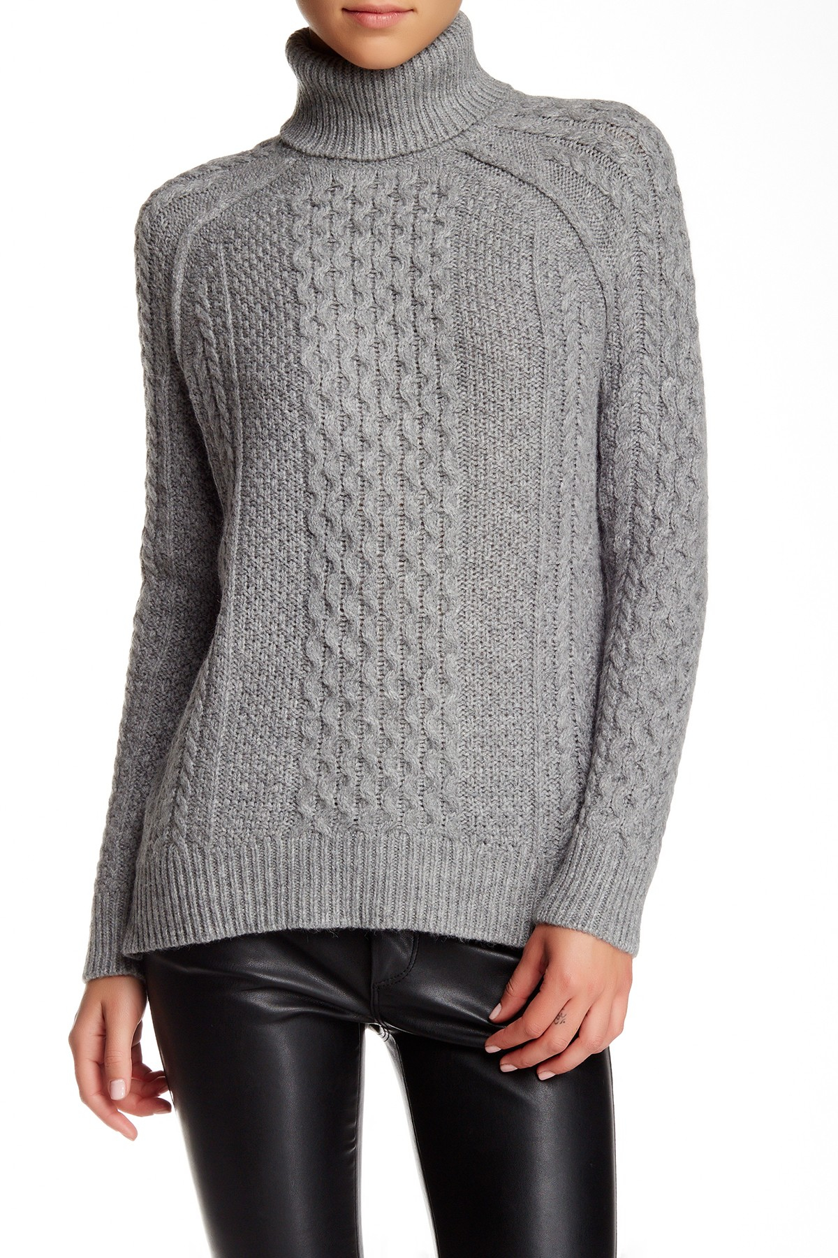 Mens Black Cable Knit Turtleneck Sweater Sweater Grey