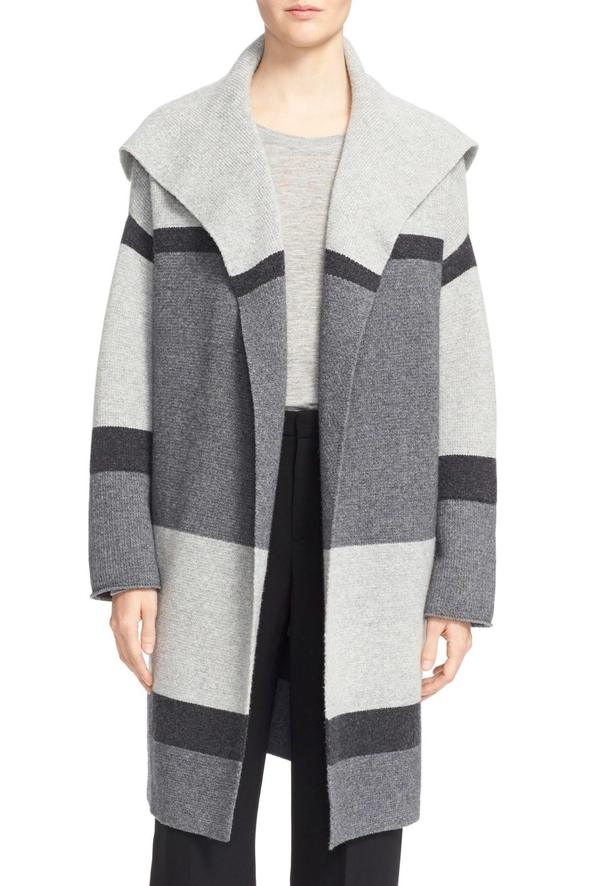 Lyst Vince Colorblock Wool Amp Cashmere Knit Car Coat In Gray