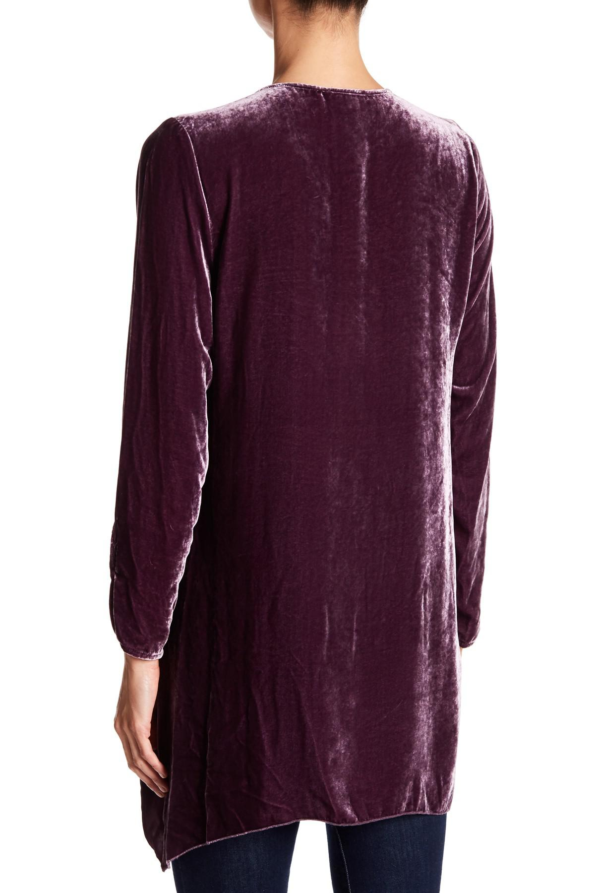 Johnny Was Floral Embroidered Velvet Tunic in Purple - Lyst