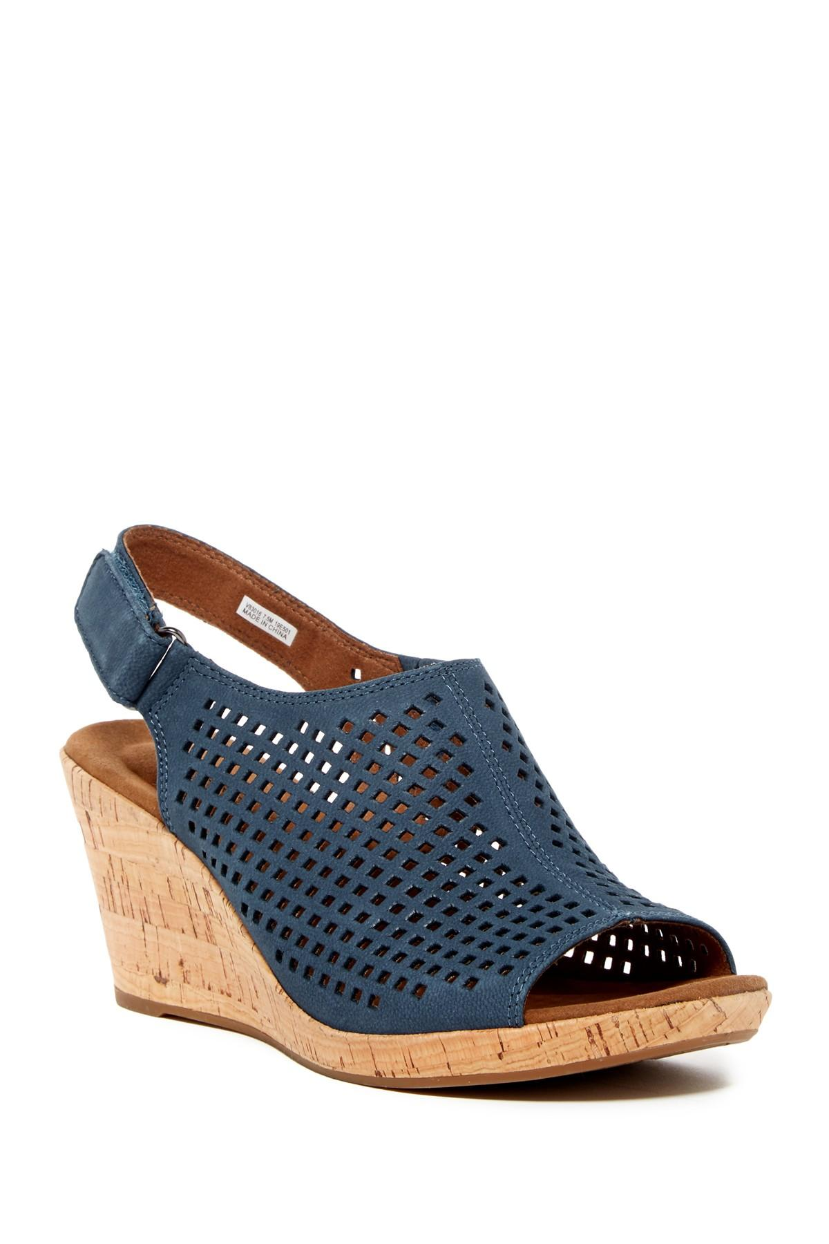 Lyst Rockport Briah Perforated Slingback Wedge Sandal In