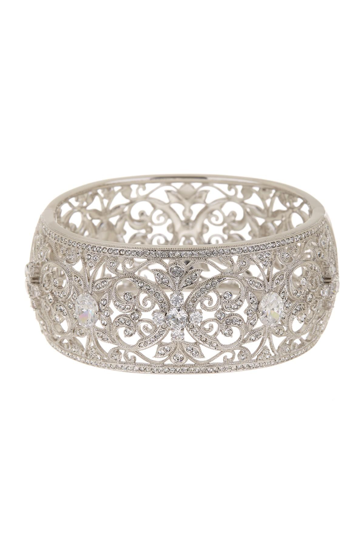 Lyst Nadri Ornate Cz Large Bangle Bracelet In Metallic