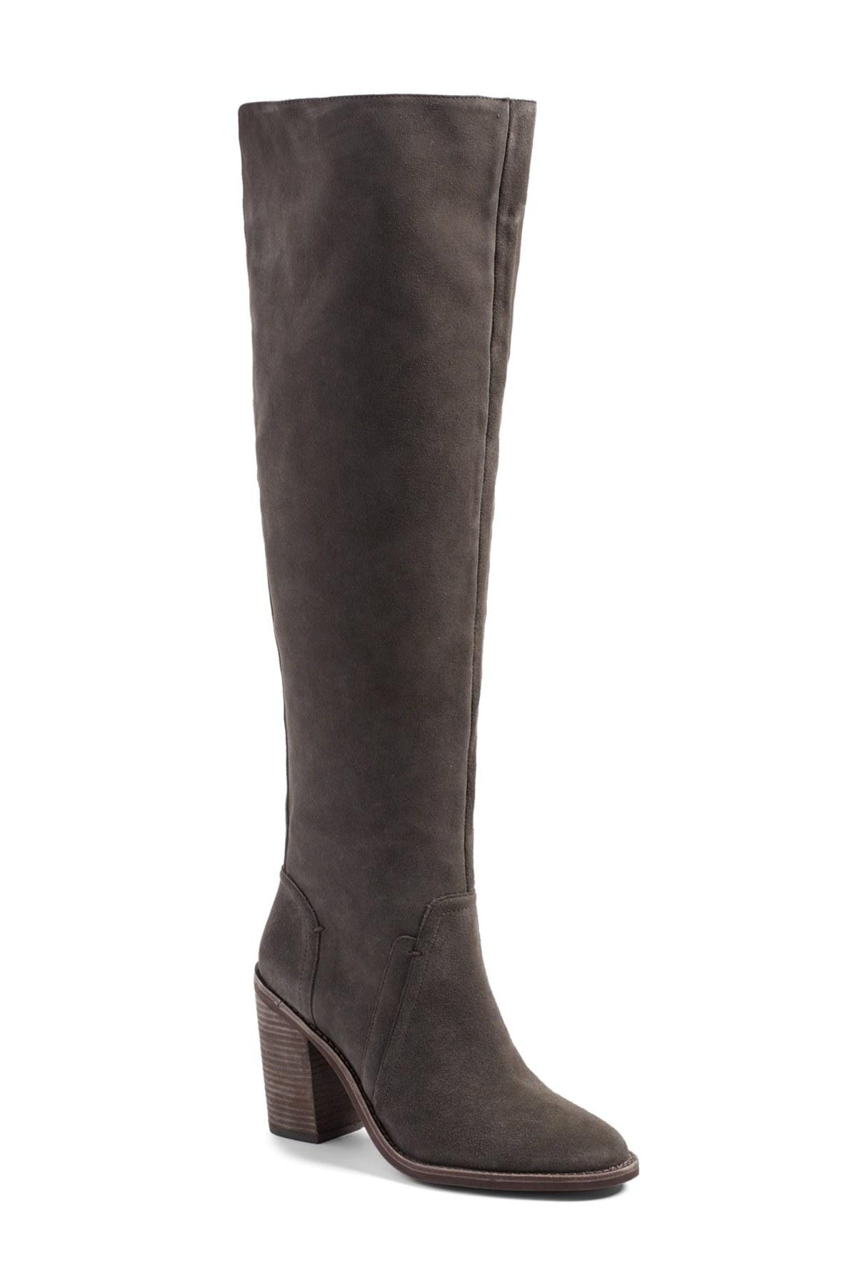 vince camuto melaya suede the knee boots in gray lyst