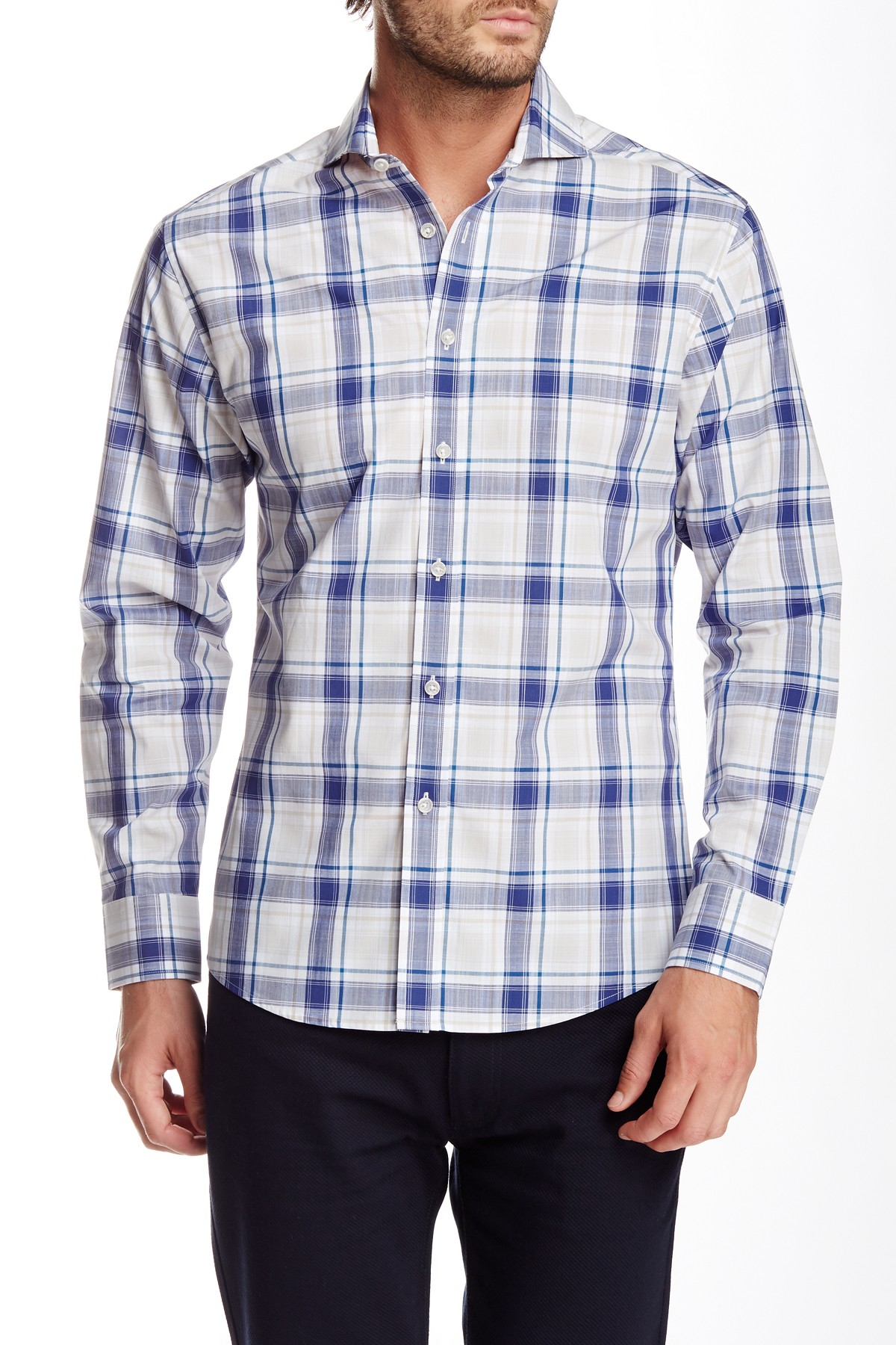 Vince camuto long sleeve plaid slim fit shirt in blue for for Nordstrom men s dress shirt fit guide