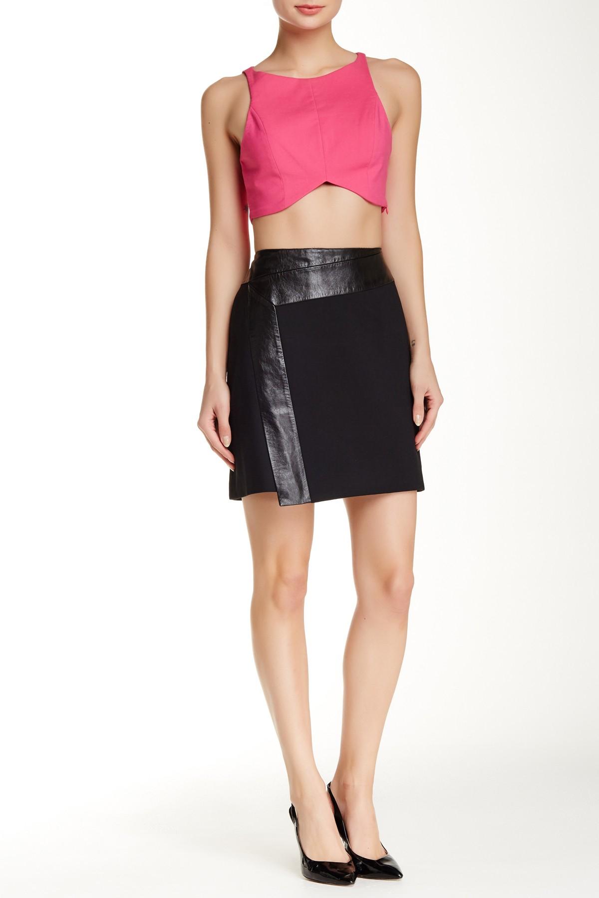 ted baker zyana leather trim wrap skirt in black lyst