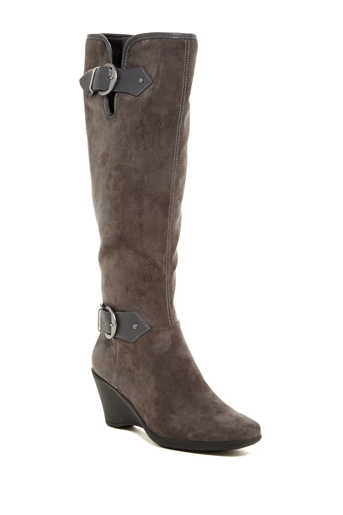 aerosoles wonderful wedge boot in gray lyst