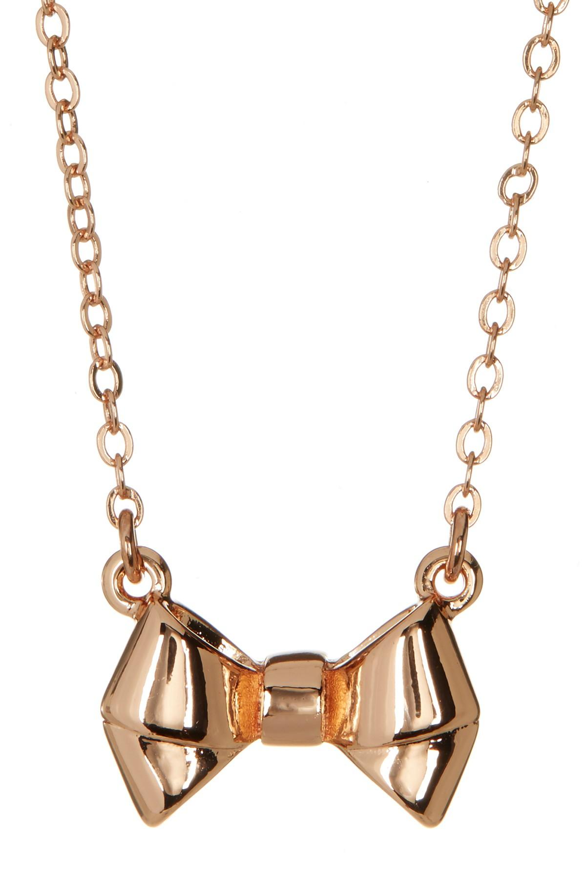 d63364a2fa8 Lyst - Ted Baker Baby Bow Pendant Necklace in Metallic