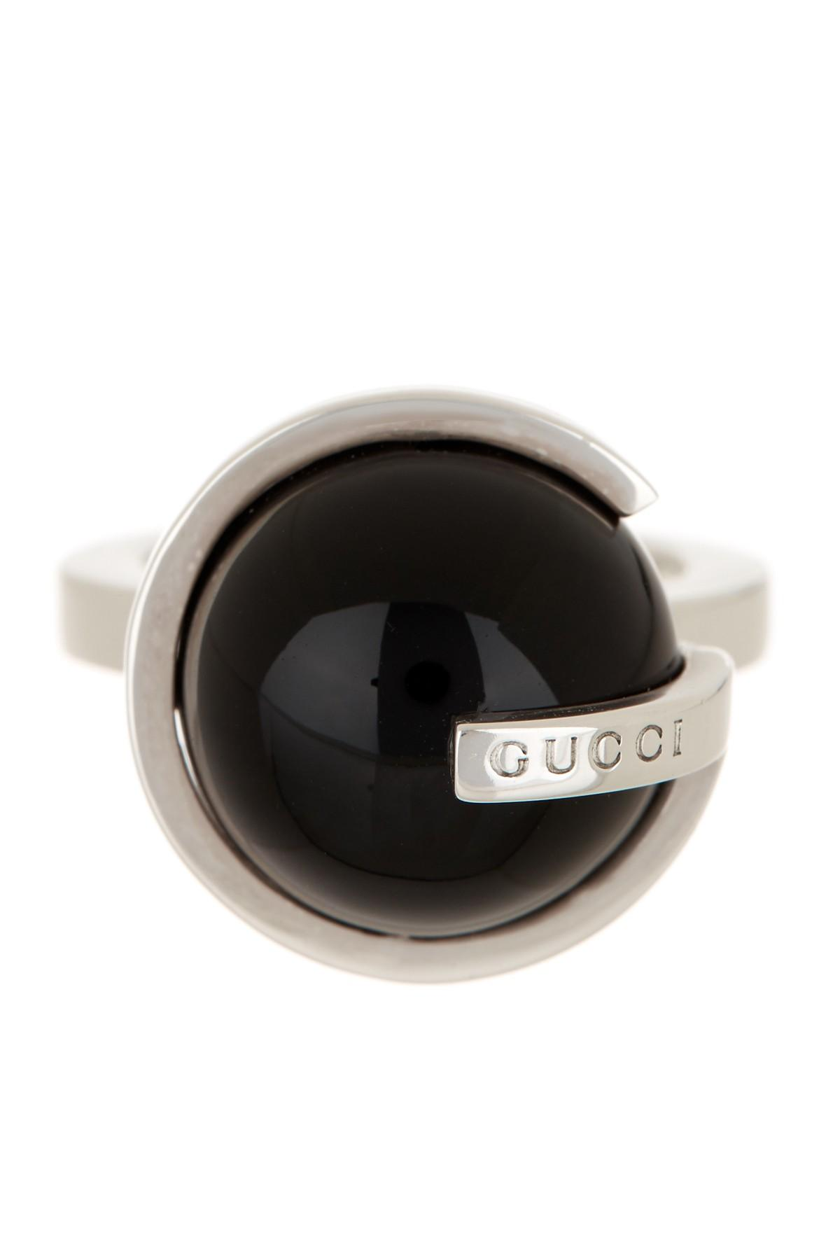 db3ebcbddbc7 Lyst - Gucci Sterling Silver Round Onyx Boule Ring - Size 7.5 in ...