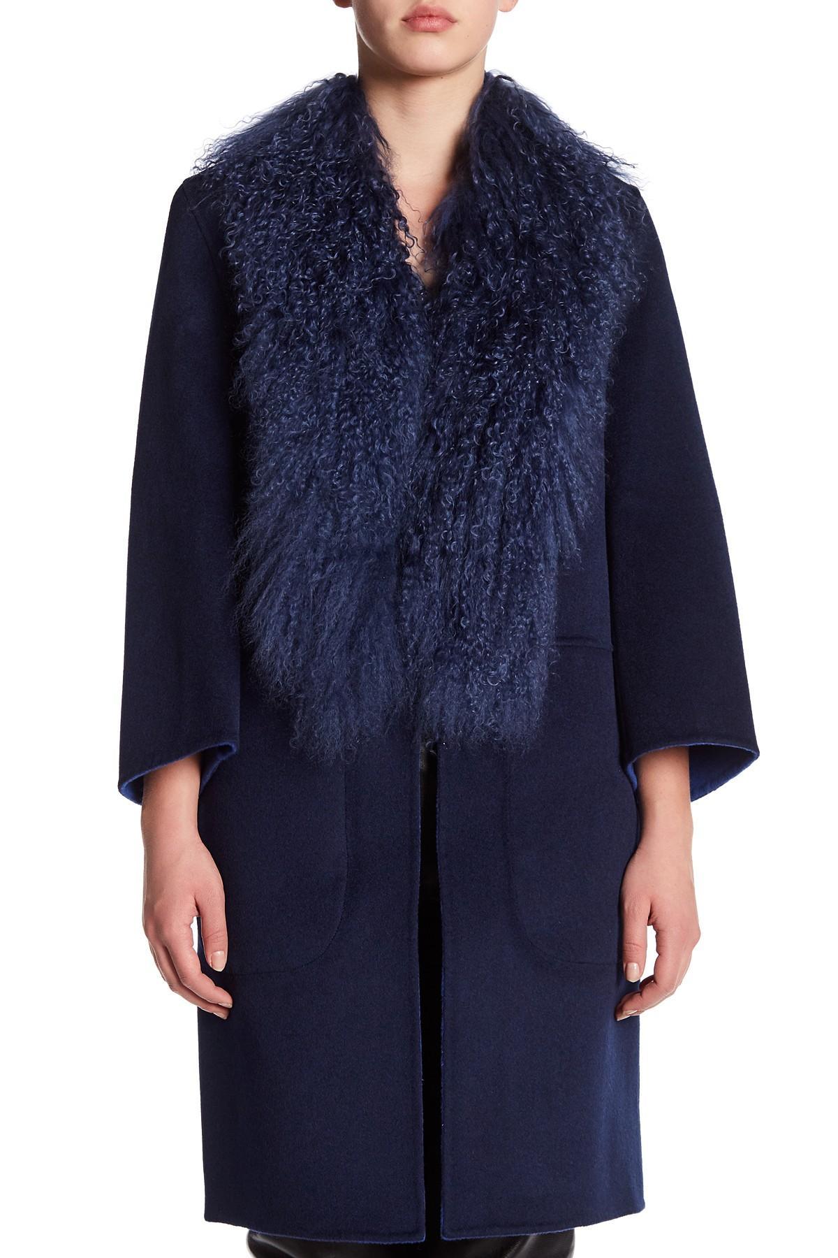 Zac Zac Posen Blue Lauren Mid Length Wool & Genuine Mongolian Lamb Fur  Reversible Coat