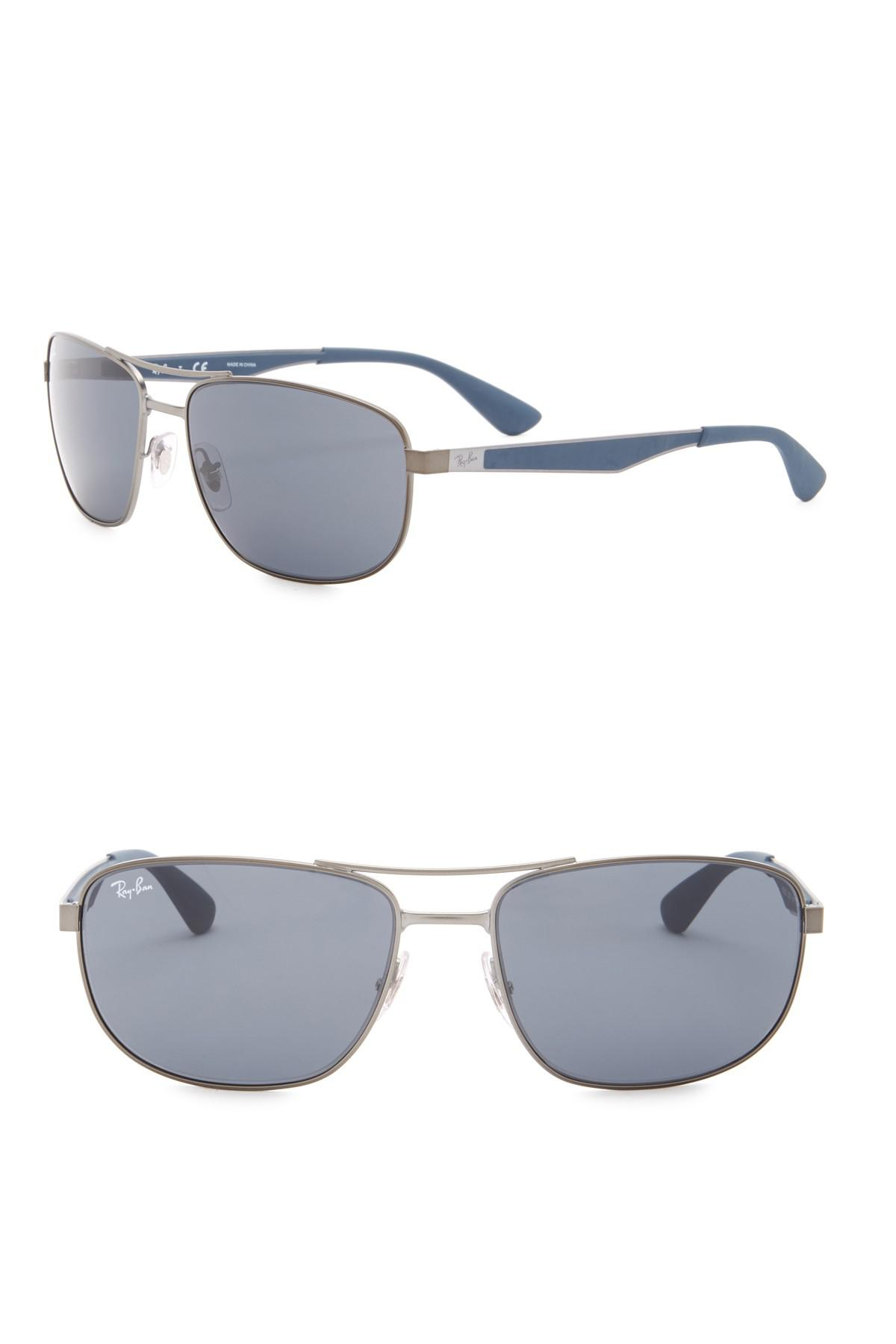 b204dff284 Lyst - Ray-Ban 61mm Rectangle Sunglasses in Blue for Men