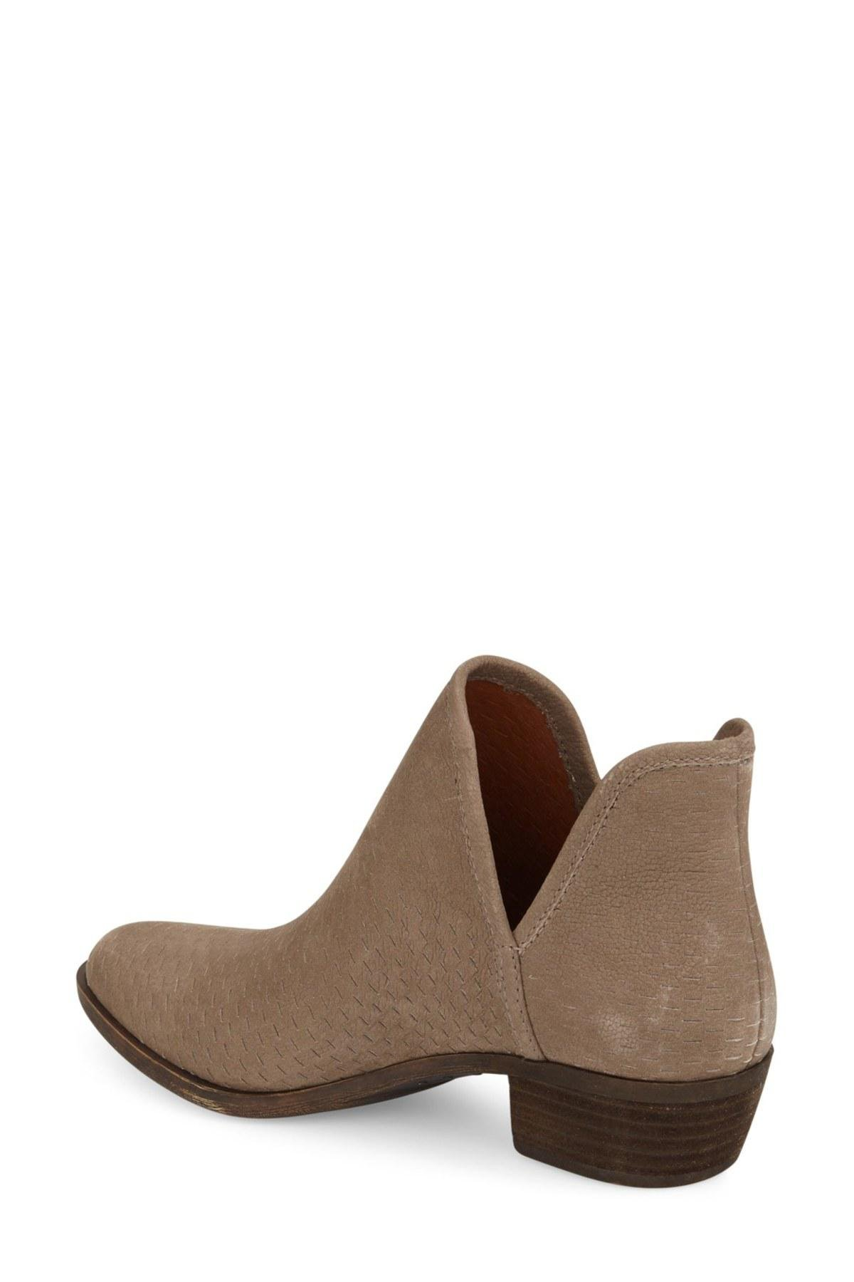 Lucky Brand Bashina Blush Stacked Heel Pointed Toe Leather Bootie