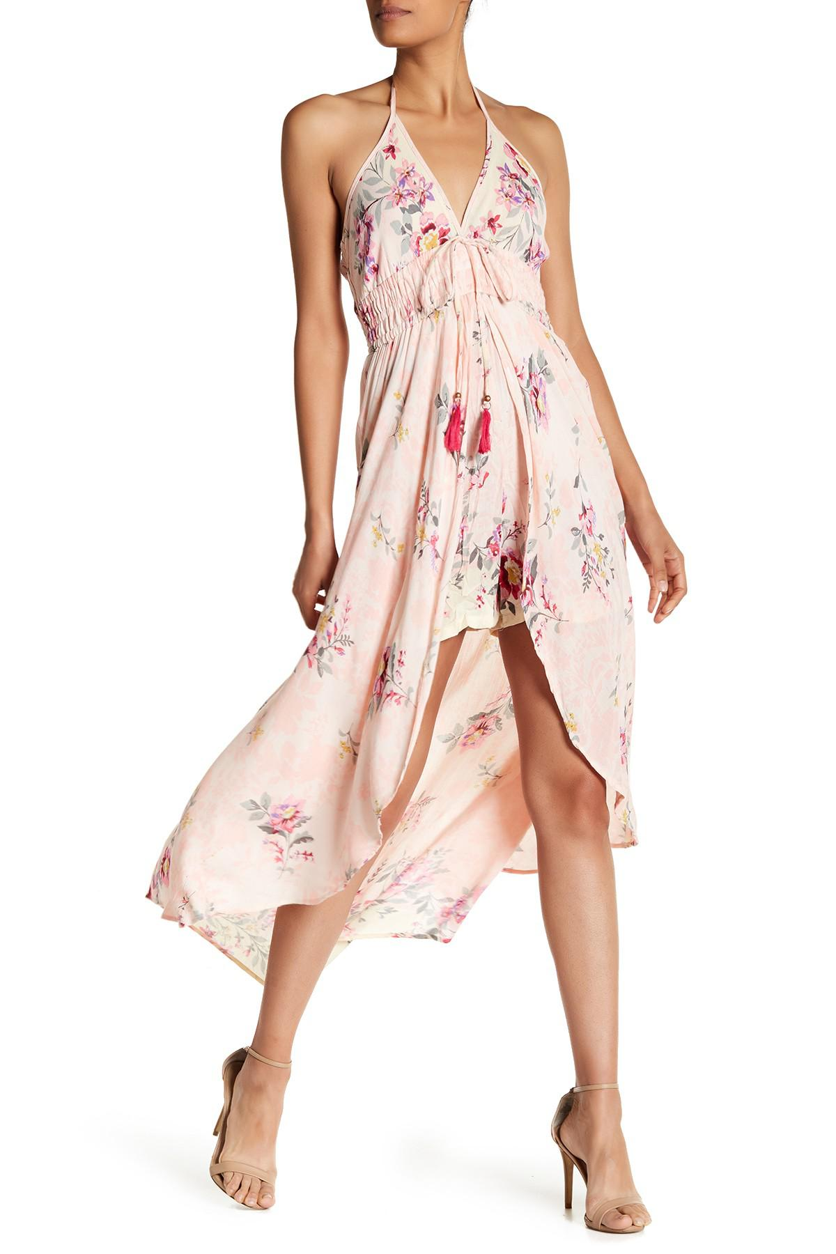 b7c7b8fc56a7 Lyst - Angie Halterneck Floral Printed Romper Cape in Pink