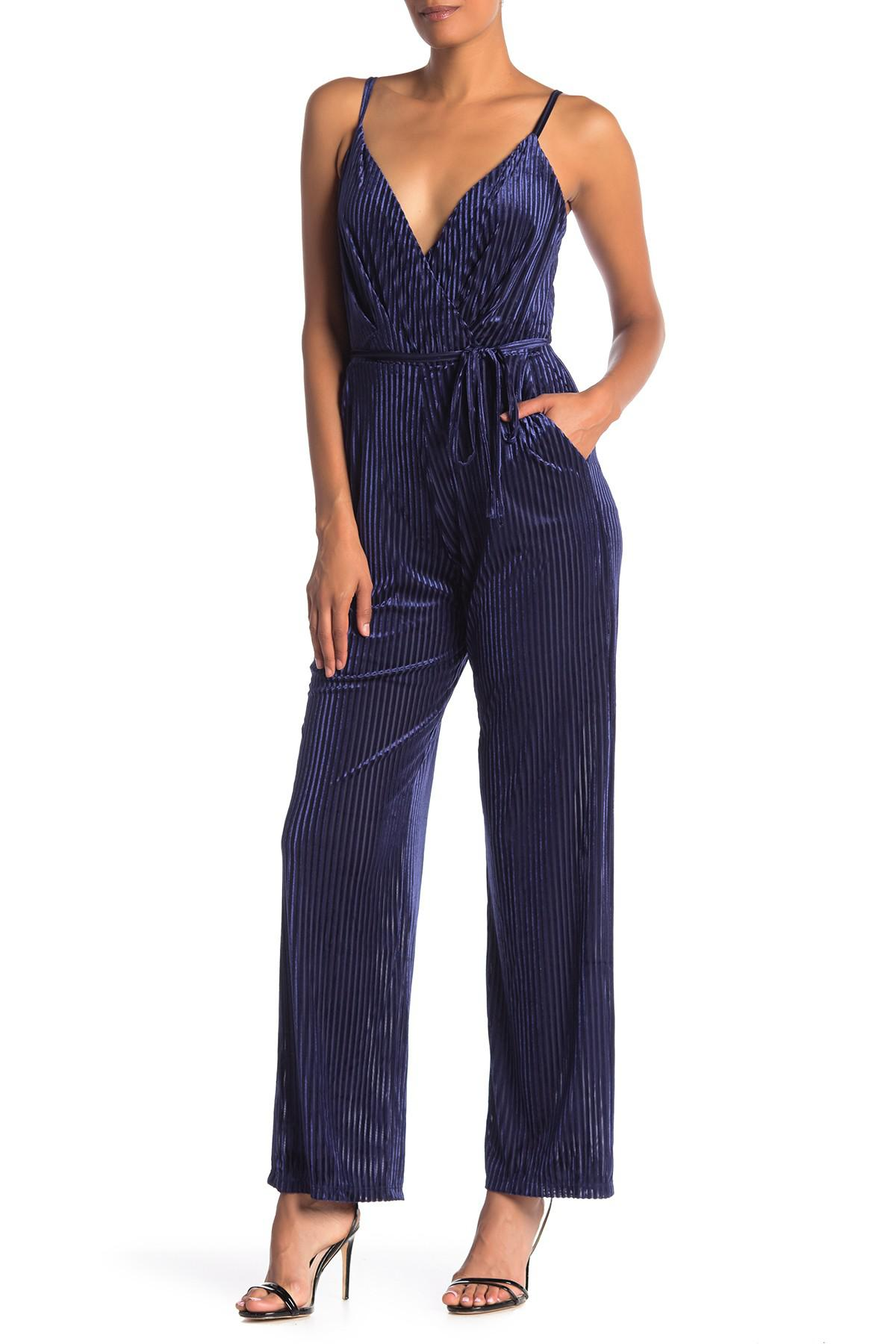 Laundry By Shelli Segal Ribbed Velvet Jumpsuit In Navy Blue Lyst