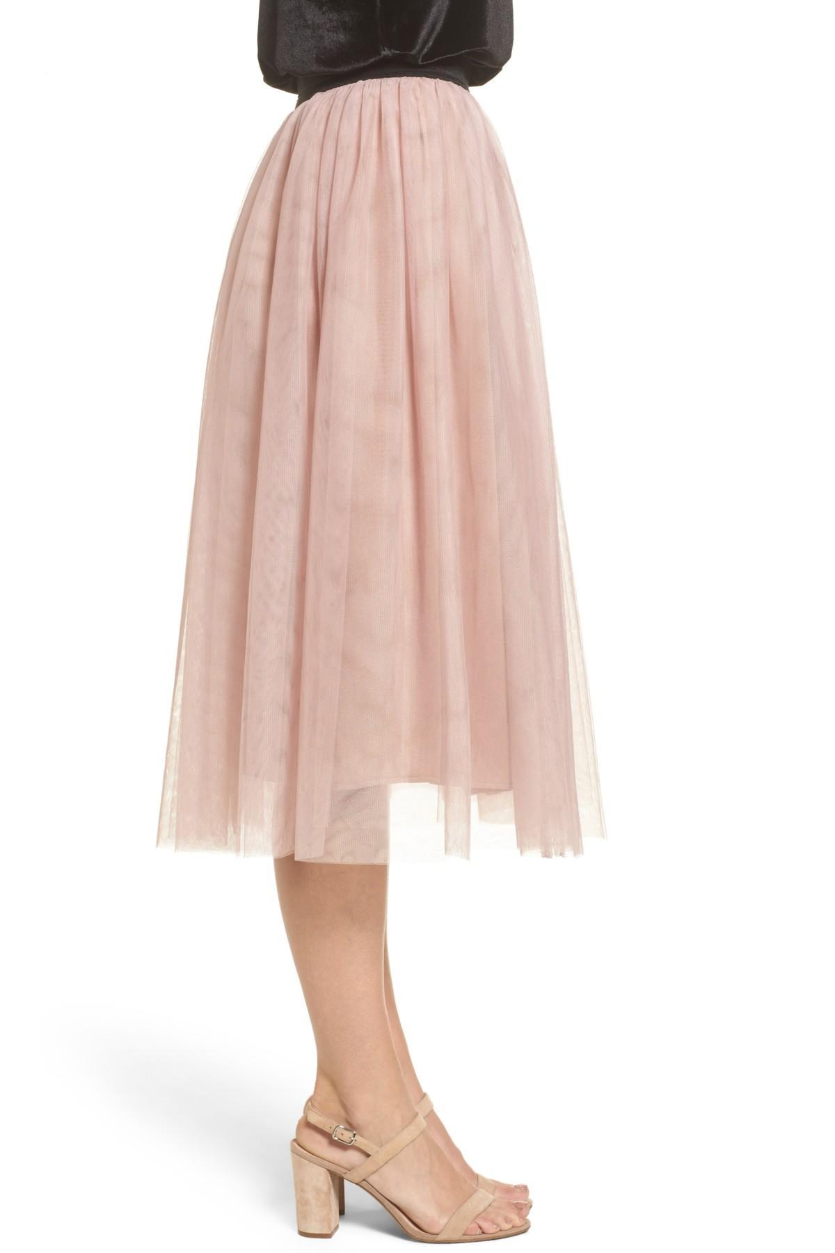 5367e41a2 Halogen (r) Tulle Midi Skirt (regular & Petite) in Pink - Lyst